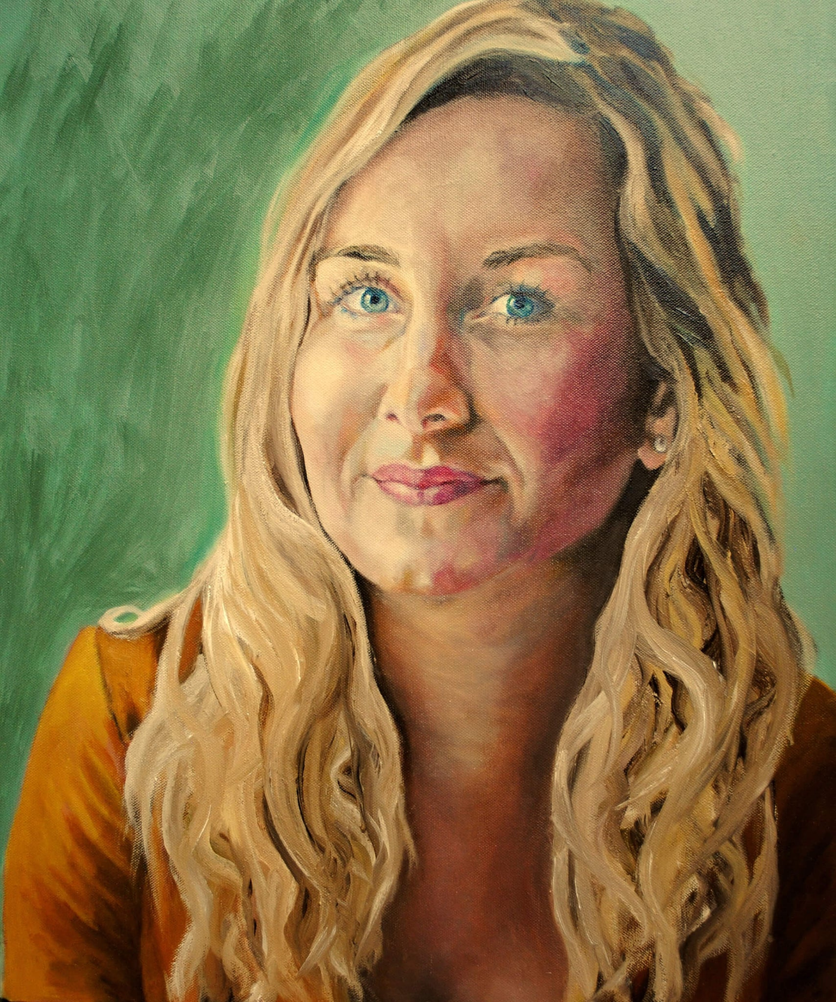 Eleanor Gibson commissioned portrait in oils on canvas artwork by Stella Tooth.
