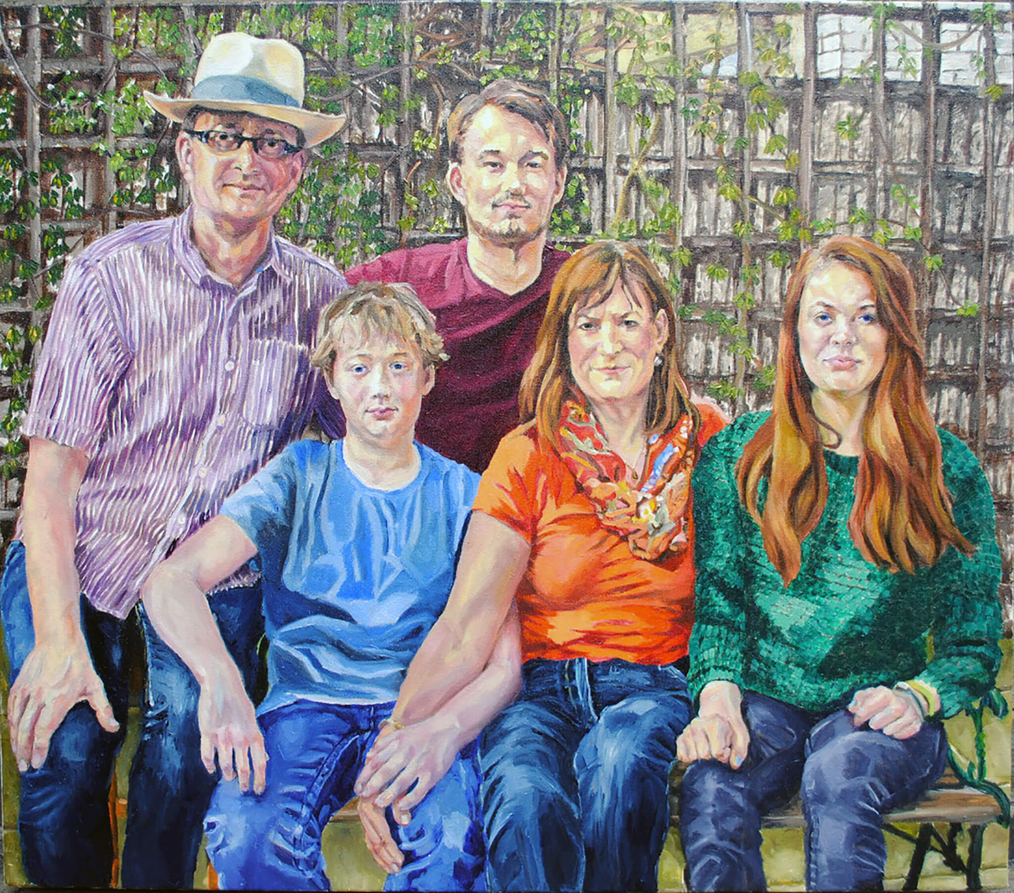 Family portrait oil on canvas portrait artwork by Stella Tooth.
