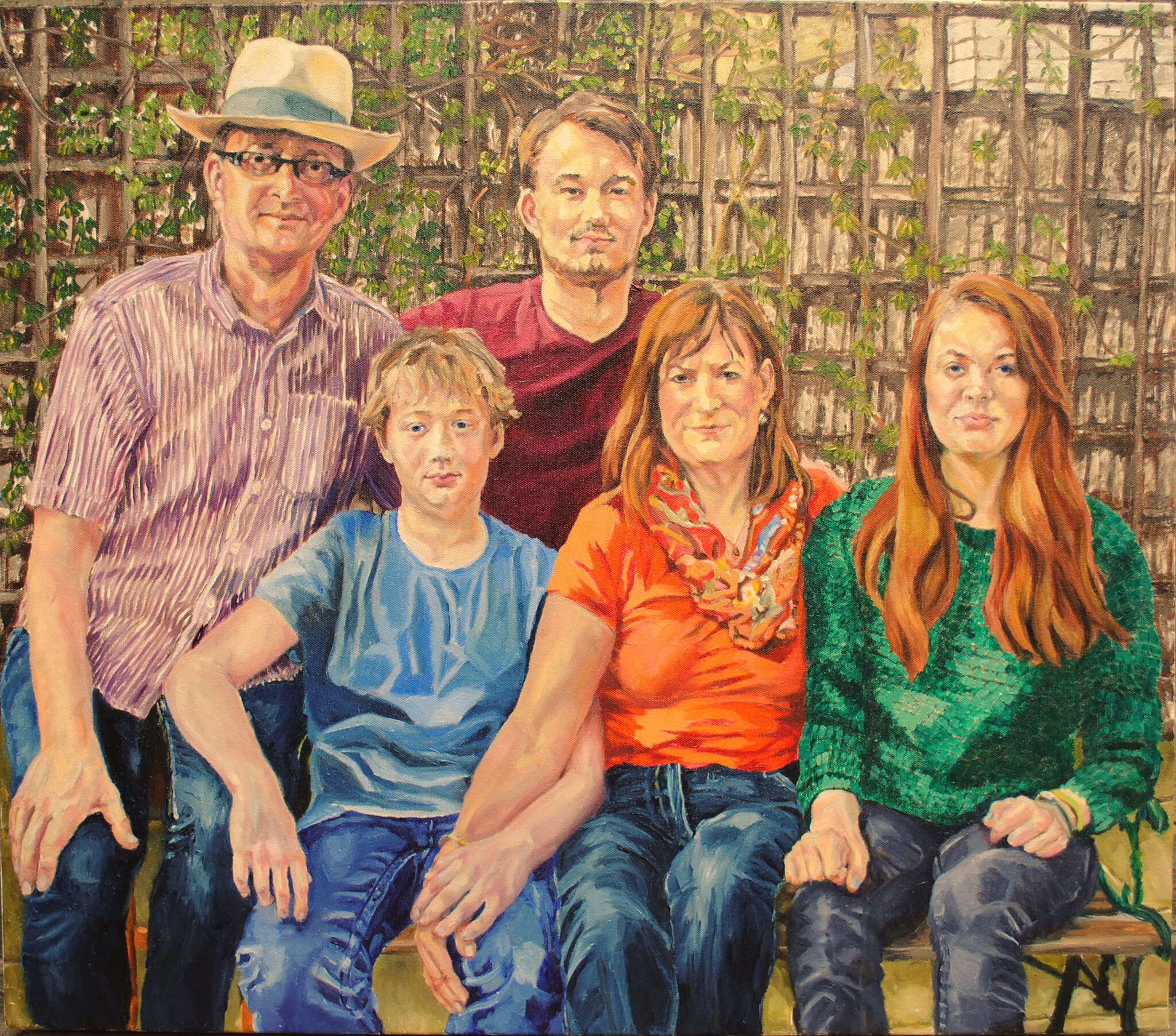 Family commissioned portrait in oils on canvas artwork by Stella Tooth.