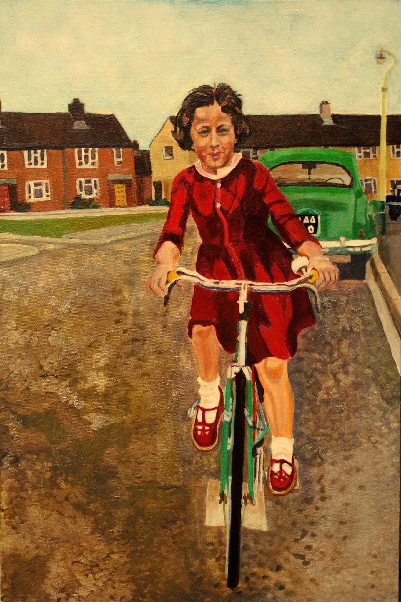 My first bike ride autobiographical portrait in oils on canvas artwork by Stella Tooth.