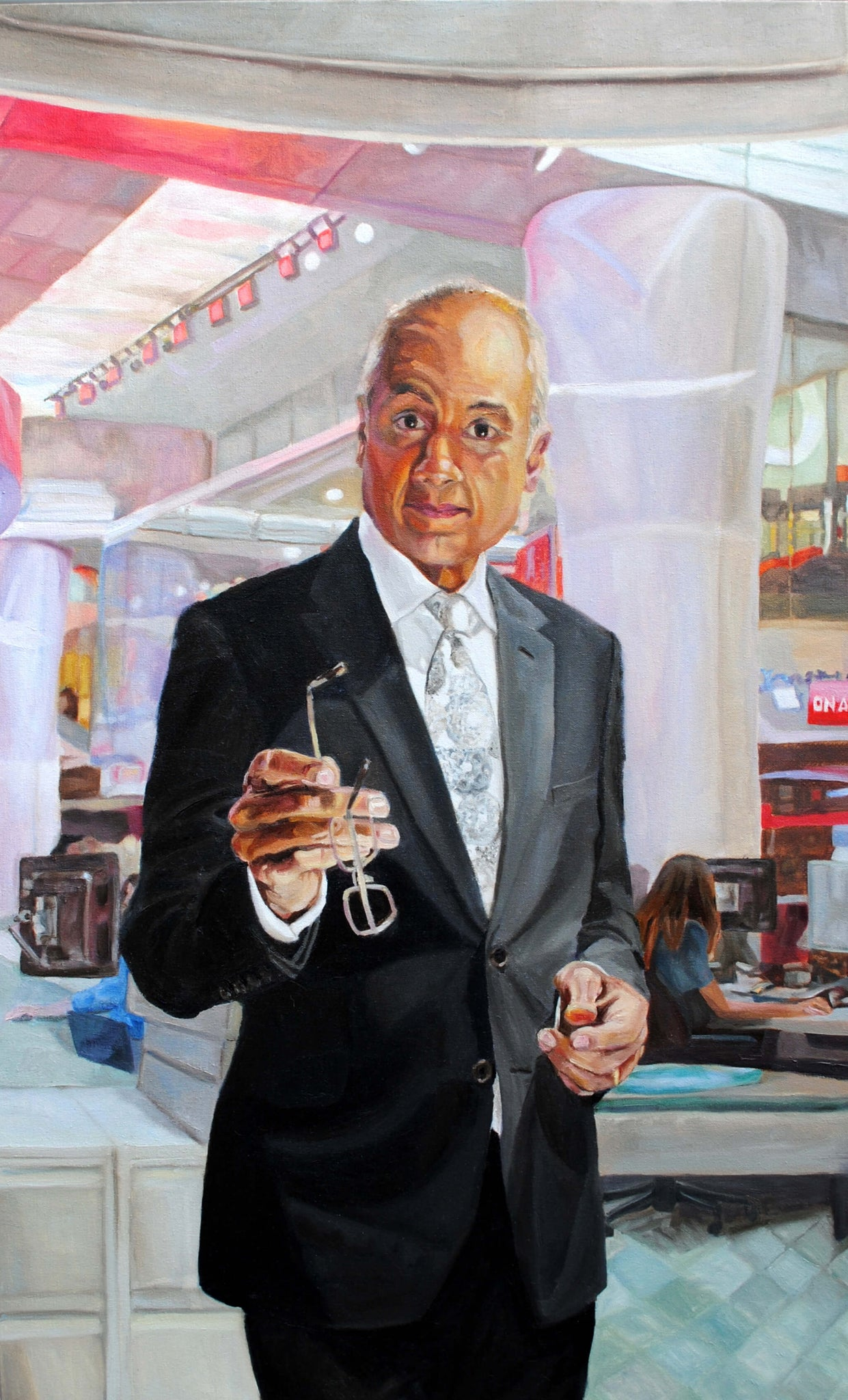 BBC's George Alagiah portrait in oils on canvas artwork by Stella Tooth.