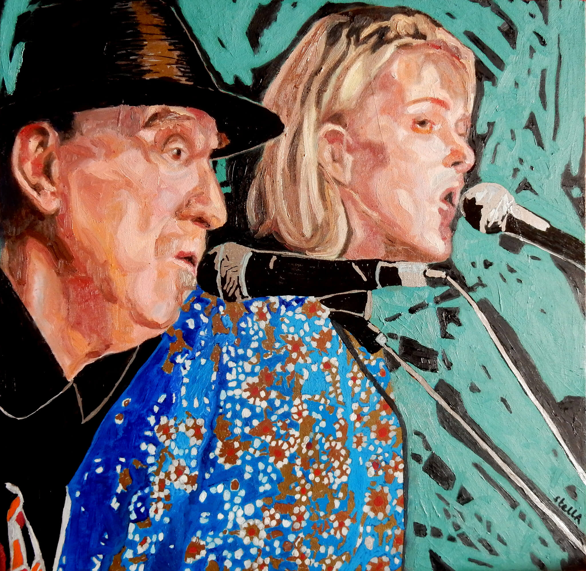 Hank Wangford and Spanner at the Half Moon Putney oil on canvas artwork by Stella Tooth.