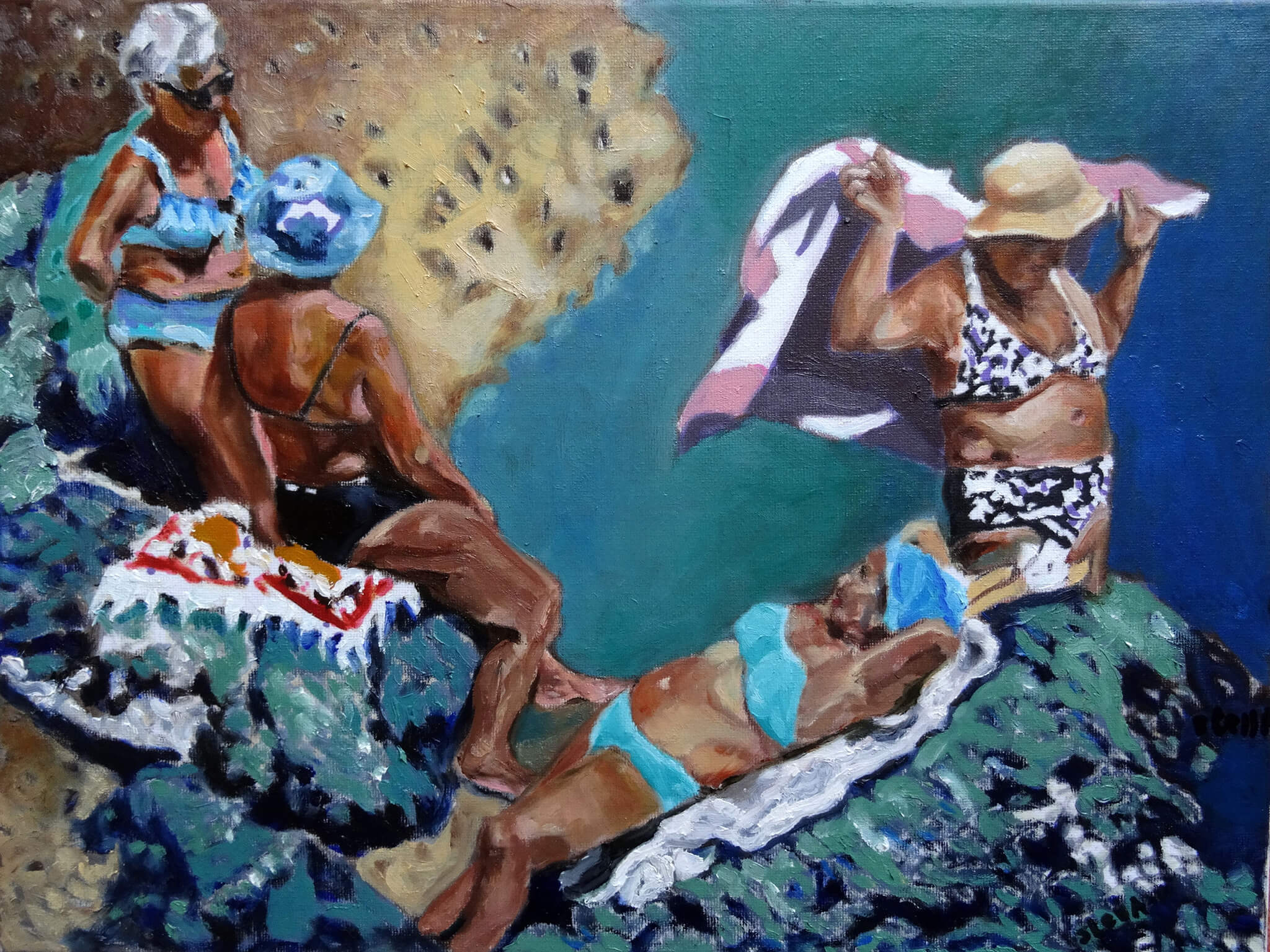 Ischia friends oil on canvas portrait artworks in bather series by Stella Tooth.