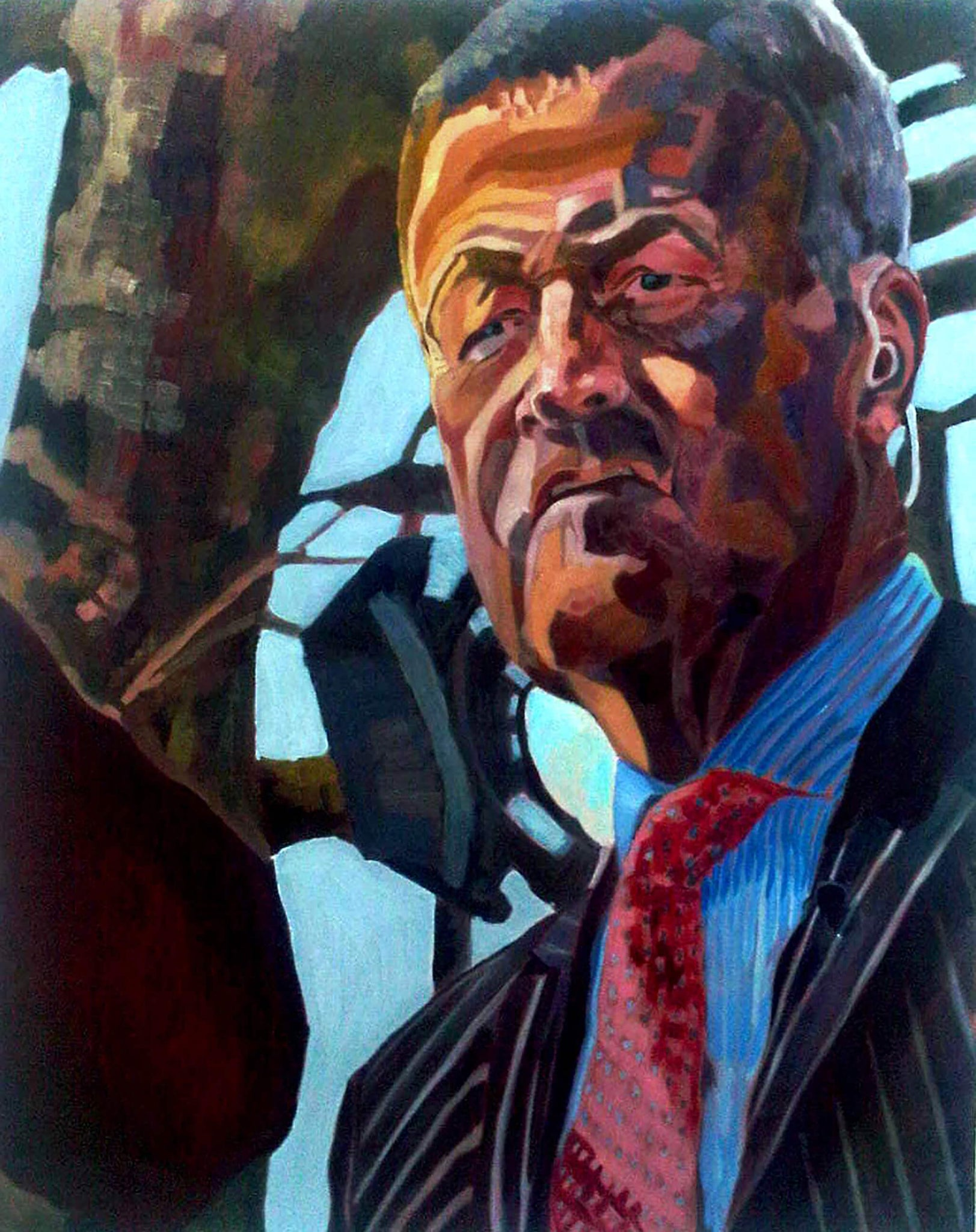 Ex Sky News journalist and Presenter Jeremy Thompson student portrait in oils artwork by Stella Tooth