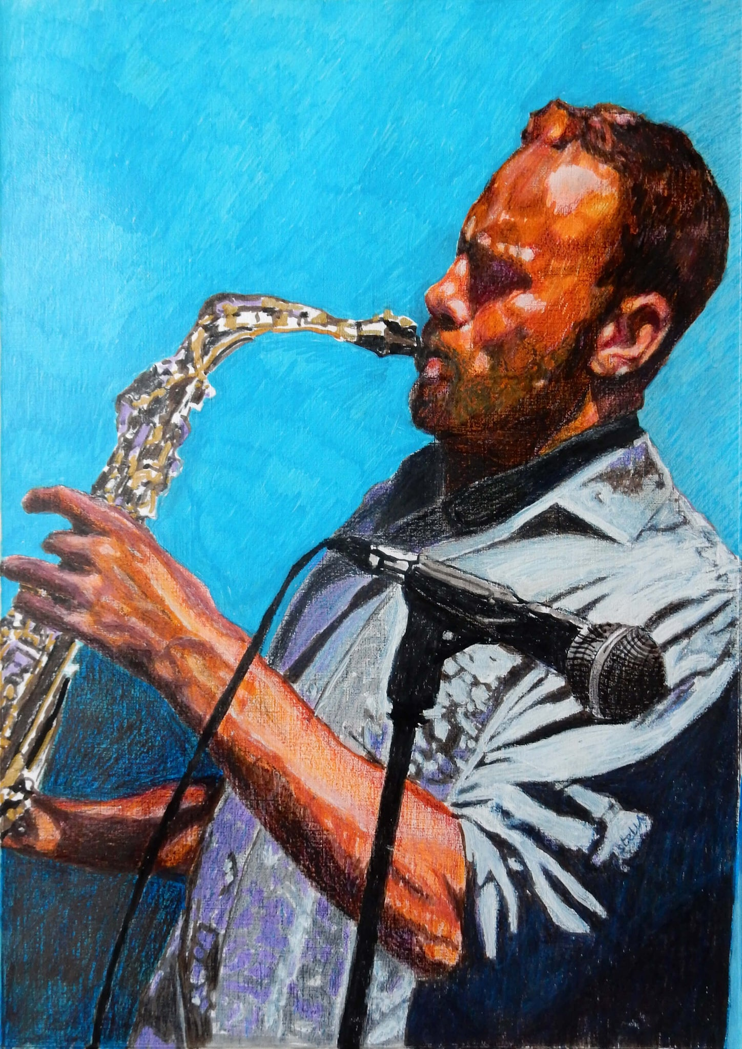 Johannes Bowling saxophonist Doc Bowling and his blues professors commissioned portrait pencil on paper artwork by Stella Tooth.