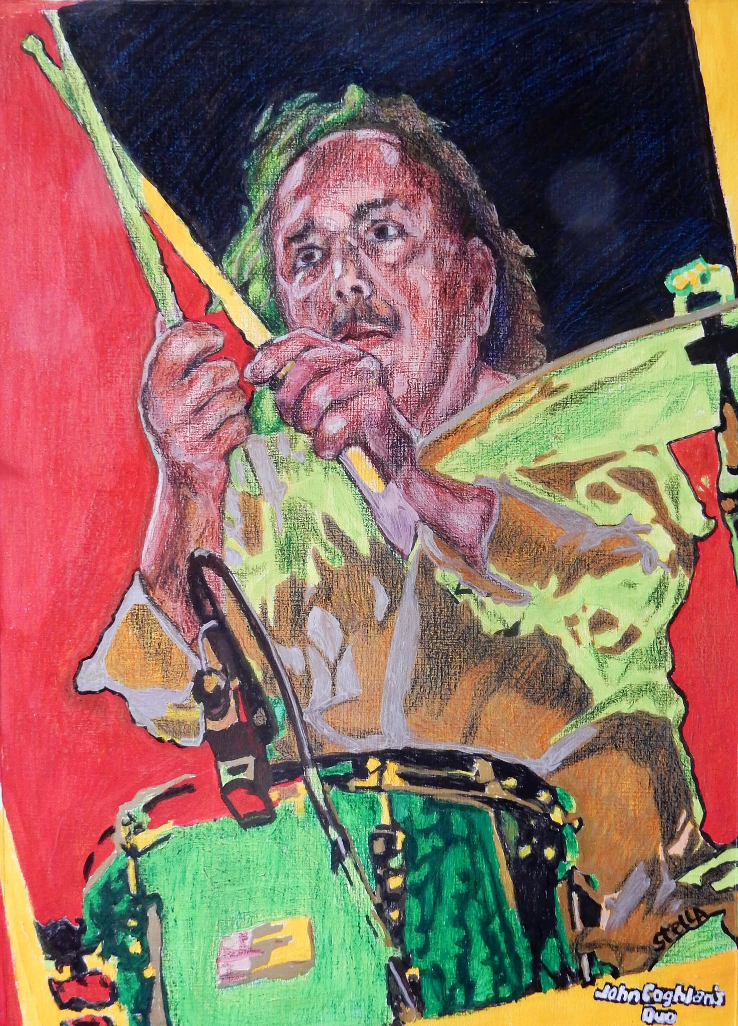 John Coghlan's Quo at Half Moon Putney mixed media portrait artwork by Stella Tooth