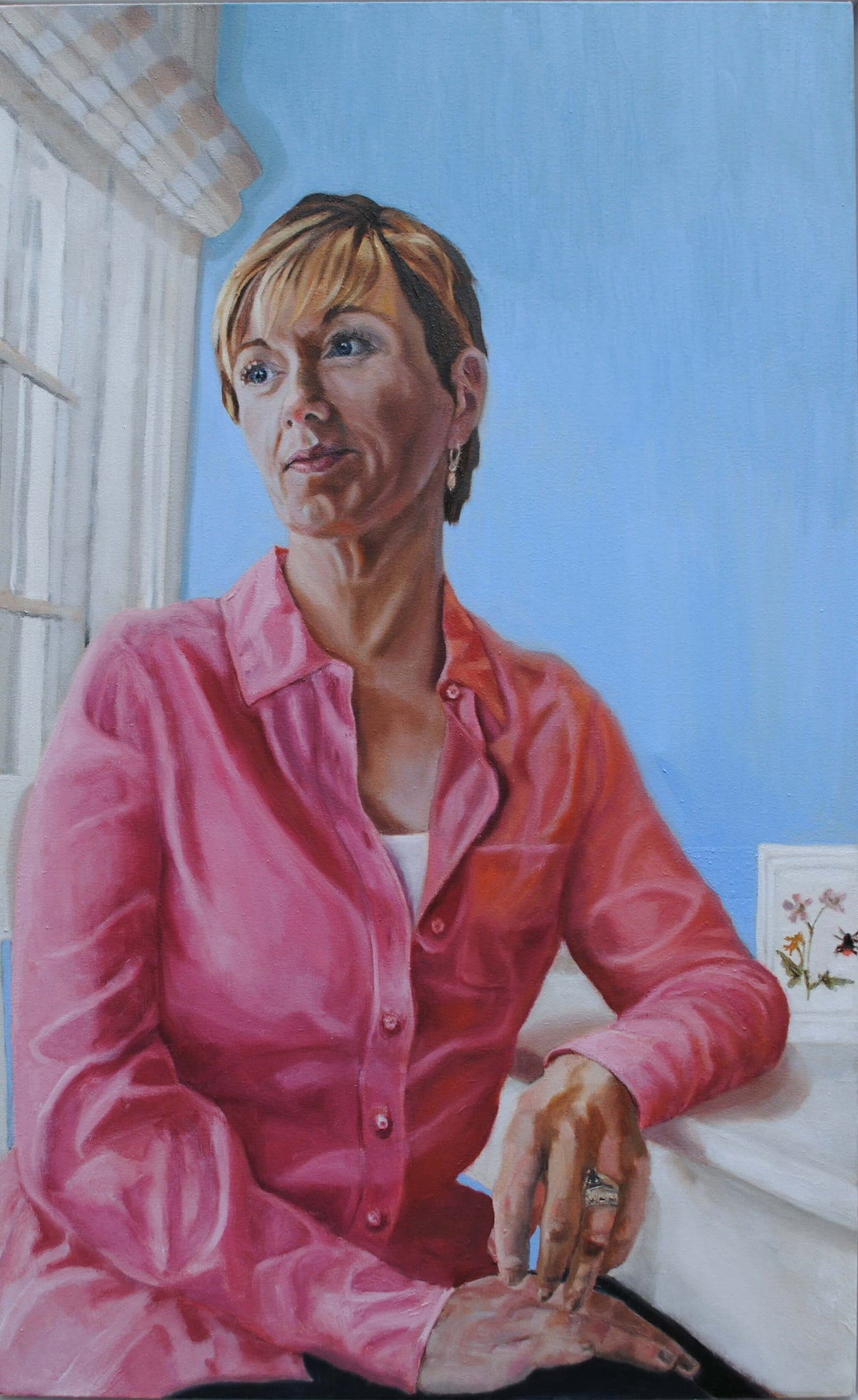 ITV News at Ten's Julie Etchingham portrait in oils on canvas artwork by Stella Tooth