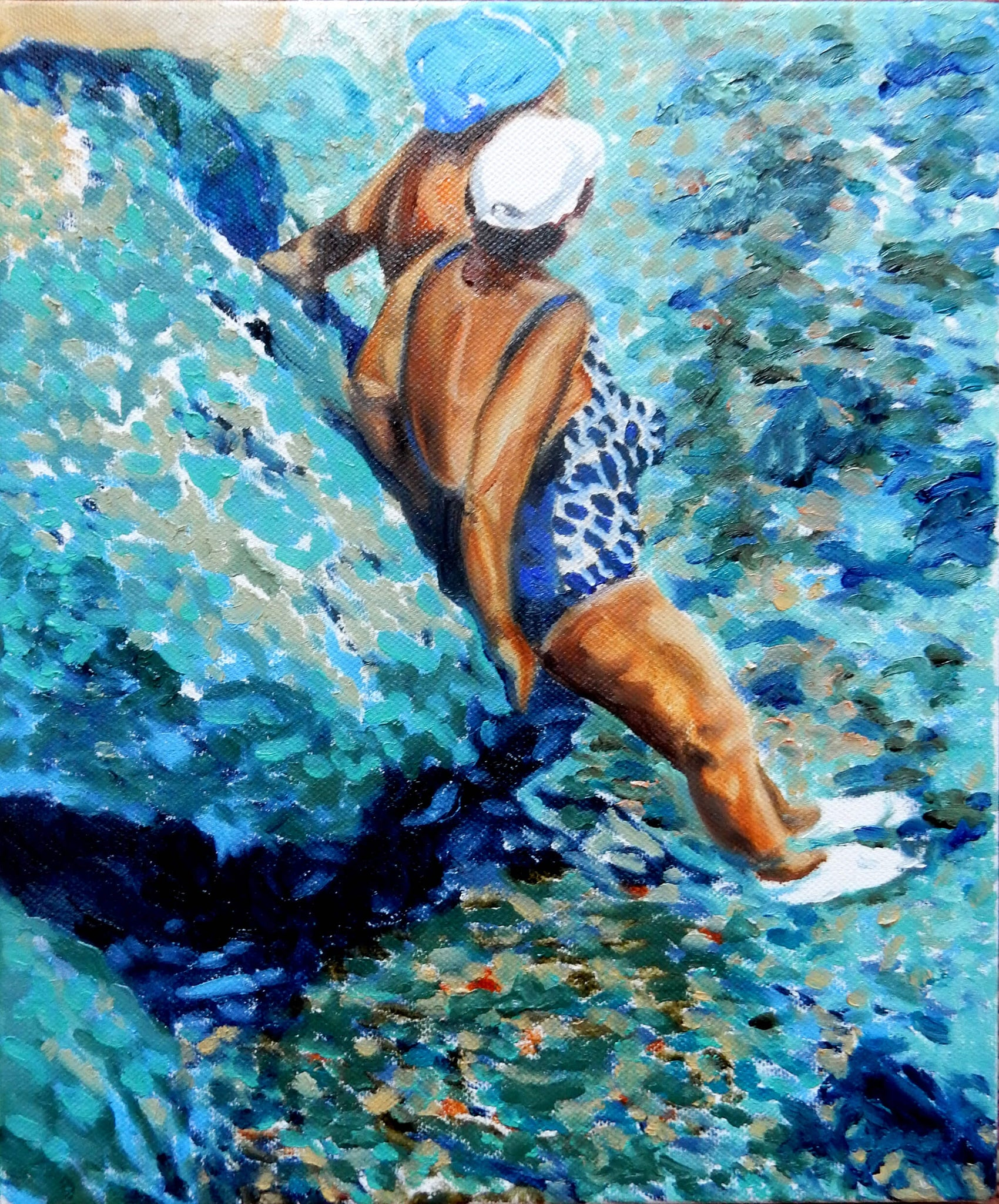 Just chillin' oil on canvas Ischia bather series artwork by Stella Tooth.