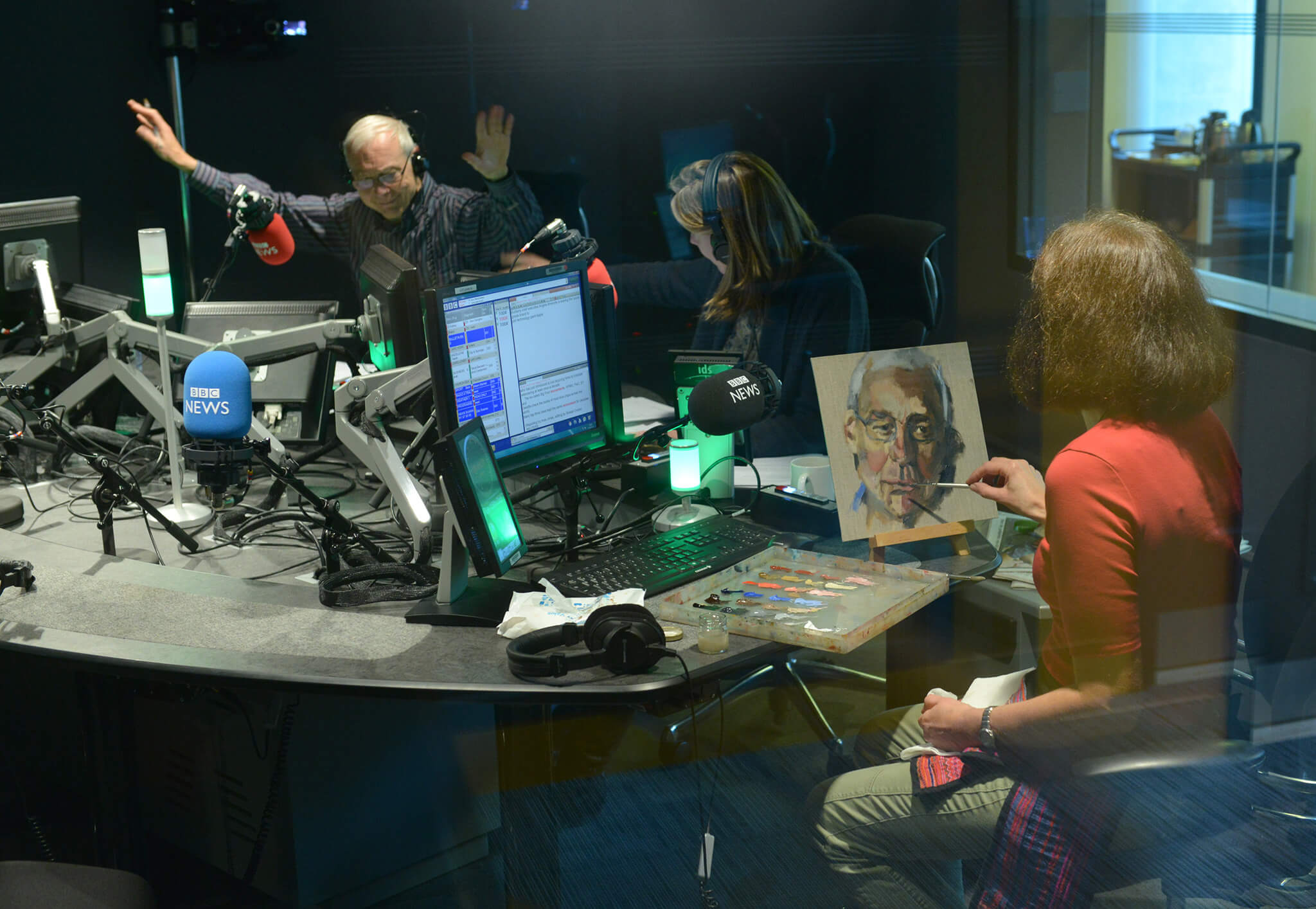 Stella Tooth painting a study in oils of John Humphrys in the BBC Today studio.