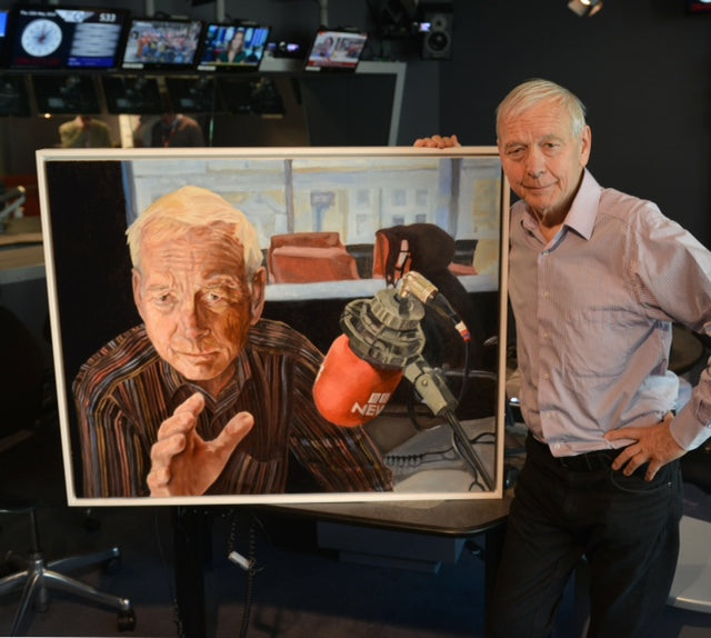 BBC's John Humphrys with his portrait by British figurative artist Stella Tooth