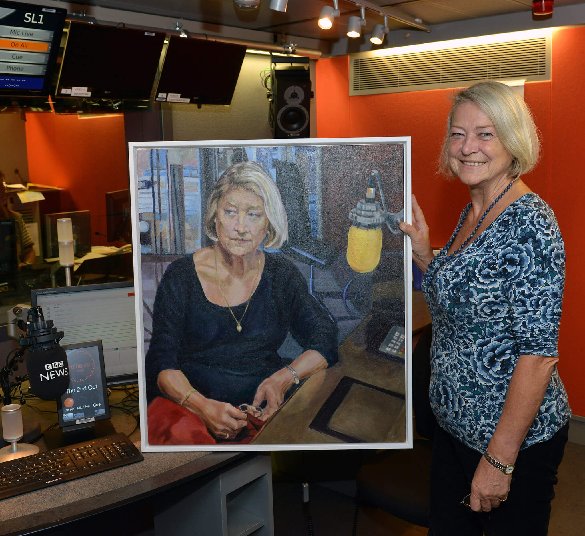 Kate Adie in BBC radio with her portrait oils on canvas artwork by Stella Tooth.