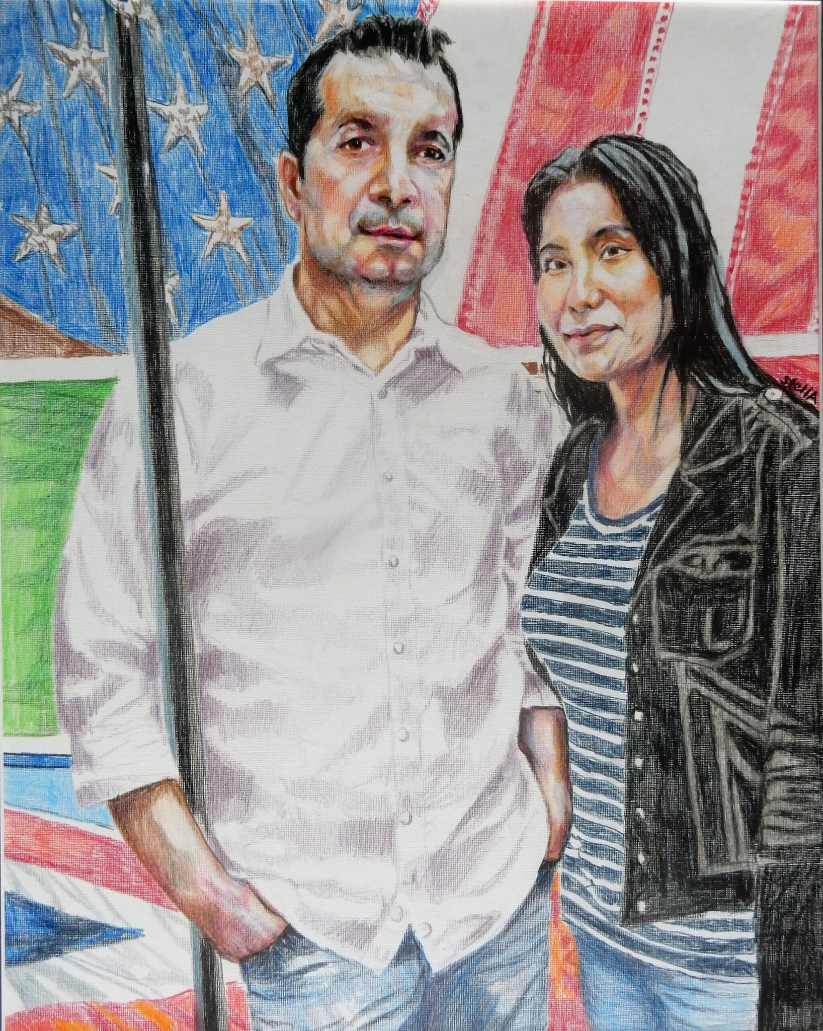 Marco Brandolini and Jennifer Lee pencil on paper artwork by Stella Tooth