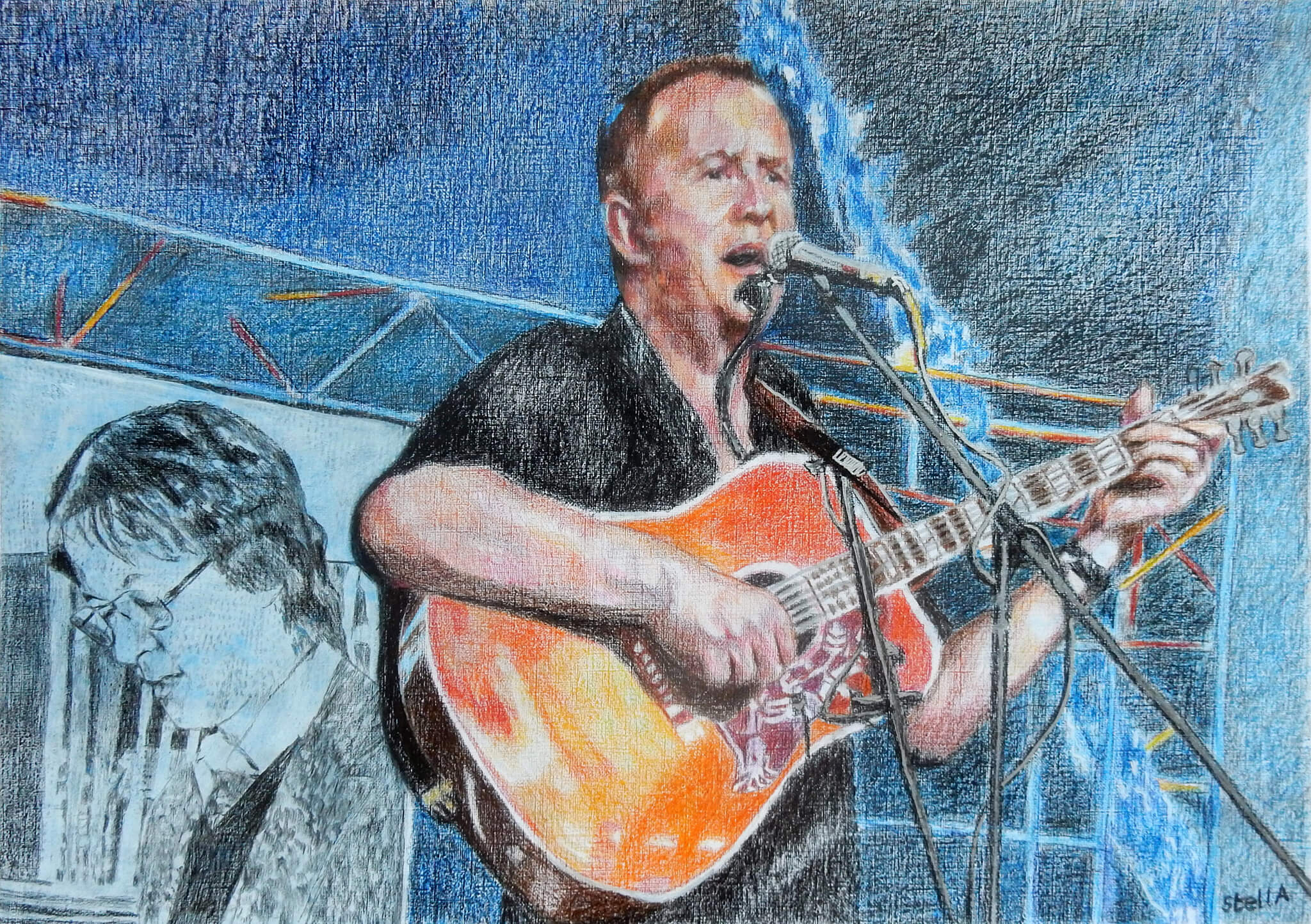 Pete Whitehead performing at retirement gig commissioned drawn portrait artwork by Stella Tooth.
