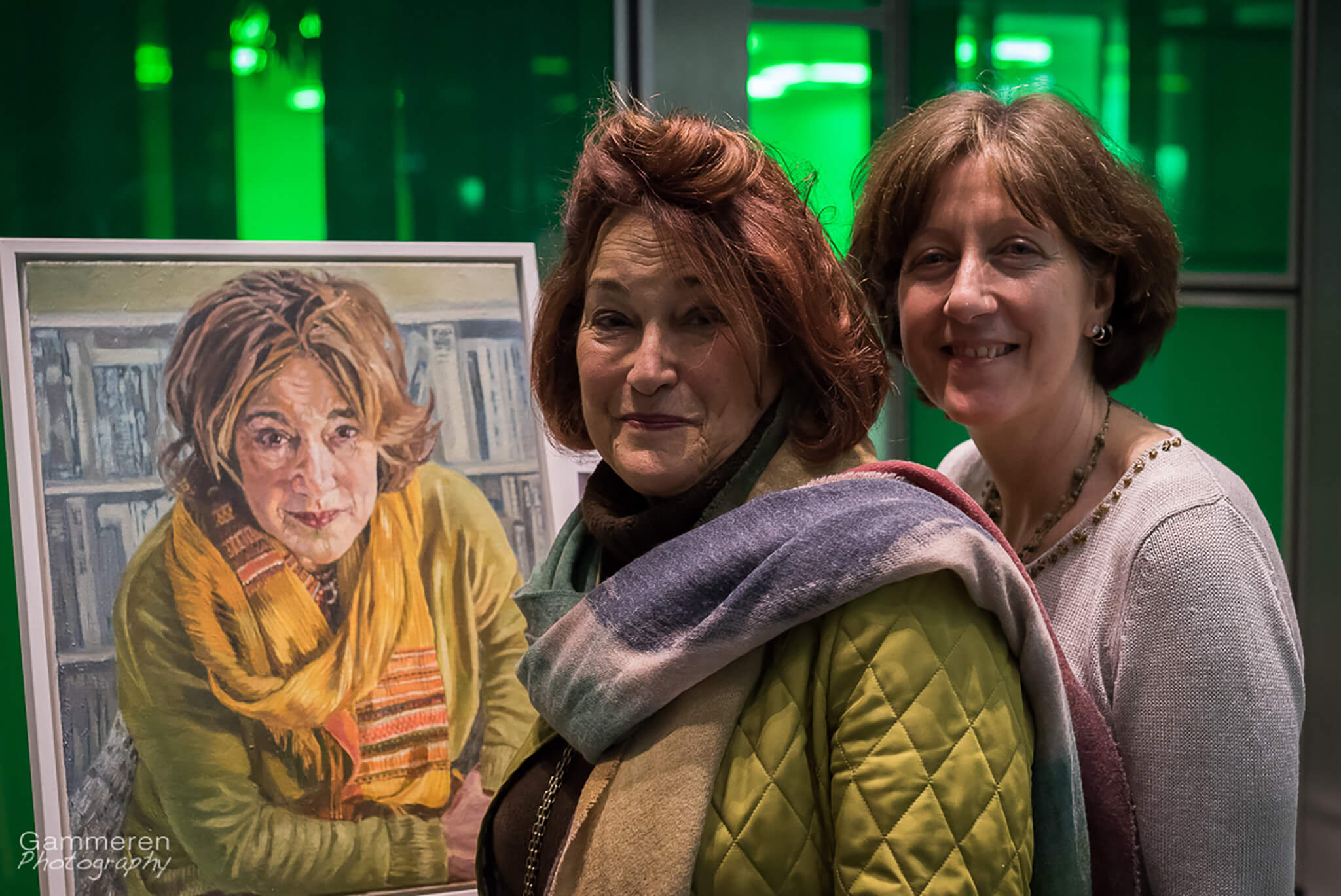 Stella Tooth with Geraldine Sharpe-Newton and portrait at Lots Road Group's Portrayed! 25 years of inspiring women.