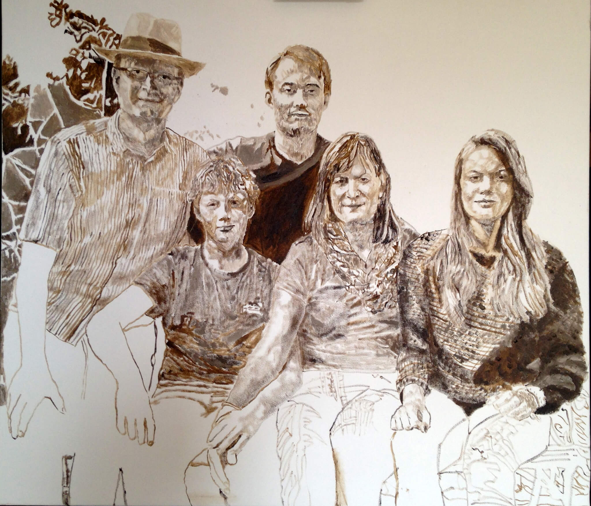 Artist Stella Tooth's family portrait commission in oils on canvas at stage of monochrome underpainting.