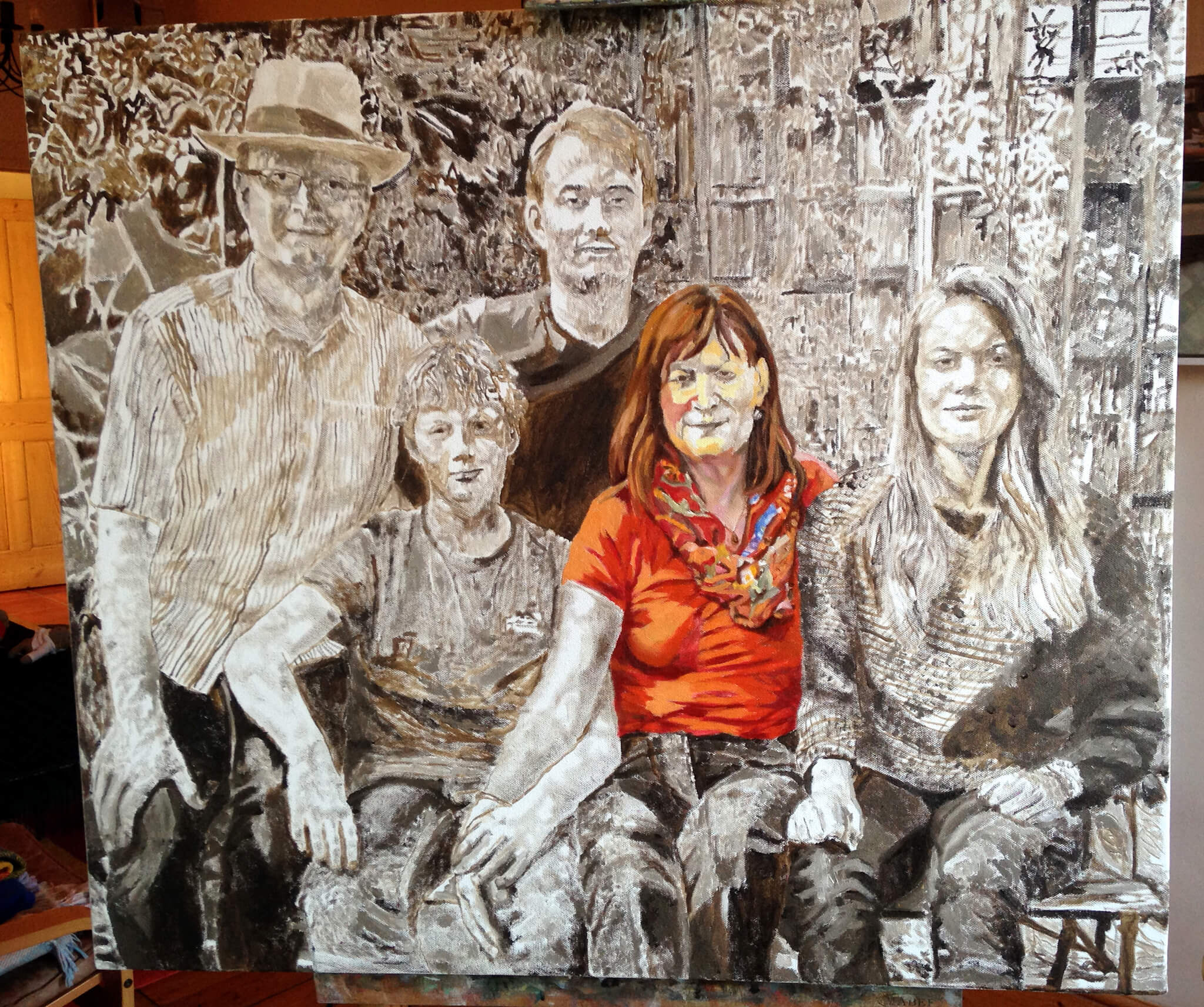 Stella Tooth's family portrait in oil on canvas artwork starting to paint fat over lean in colour.