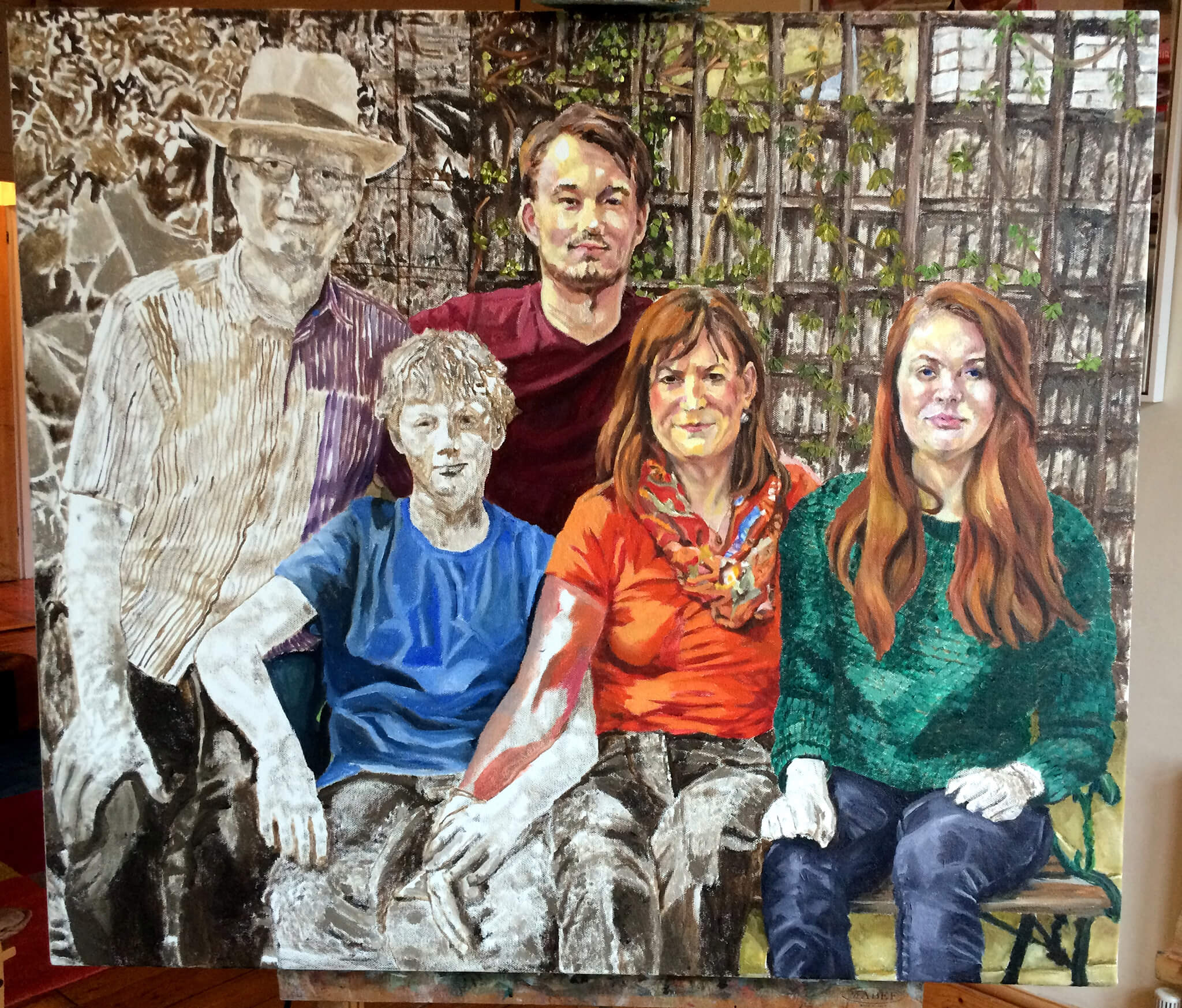 Artist Stella Tooth's family portrait in oils on canvas artwork in progress starting to add colour.