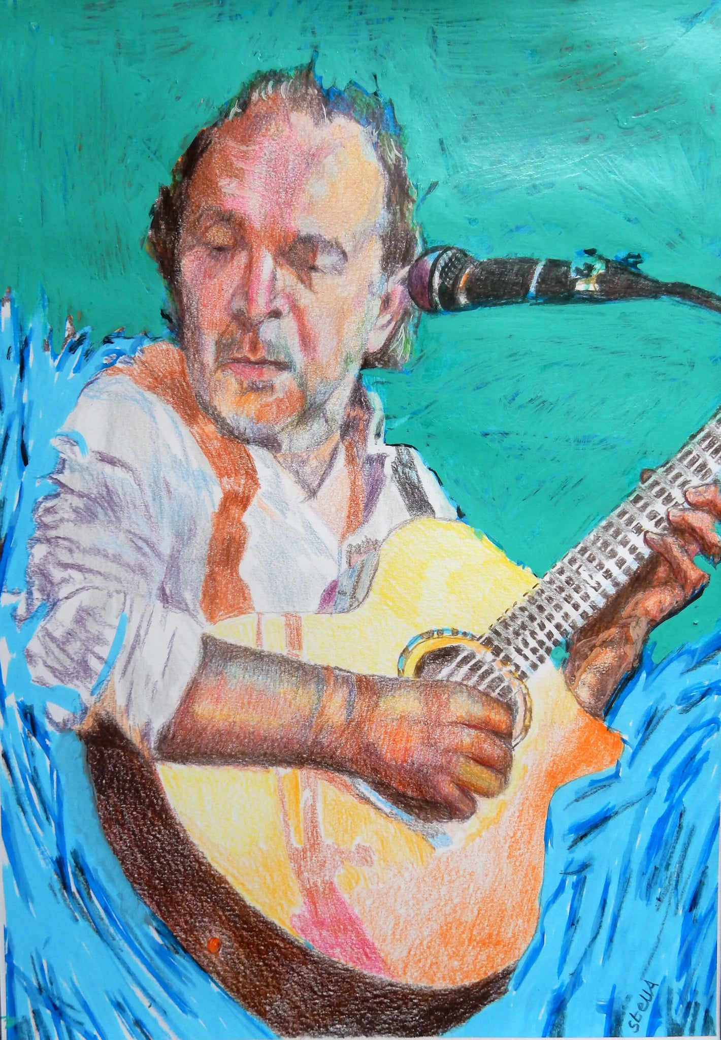 Robert Hokum Founder Ealing Blues Festival drawn mixed media portrait by Stella Tooth.