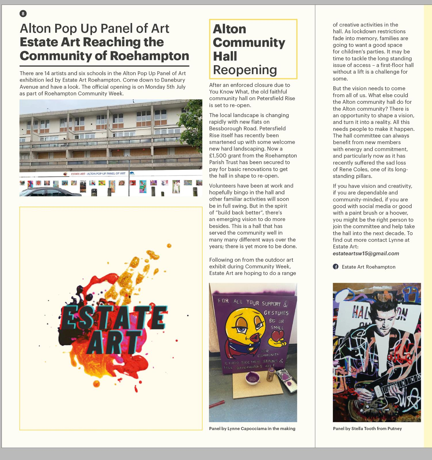Roehampton Voice: Alton pop up panel of art article featuring image of James Beck of Man by Stella Tooth
