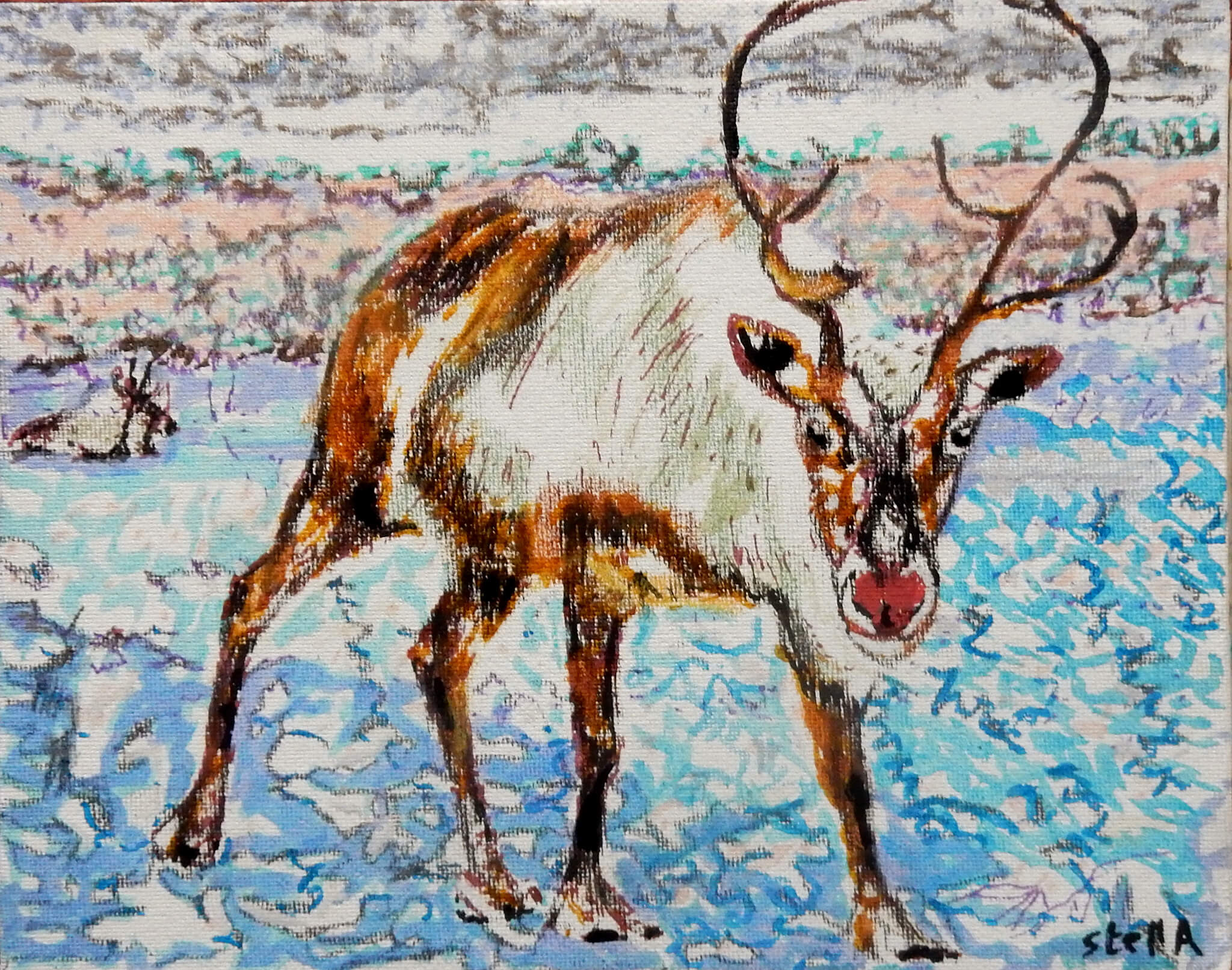 Rudolph oil on canvas board Christmas artwork by Stella Tooth.