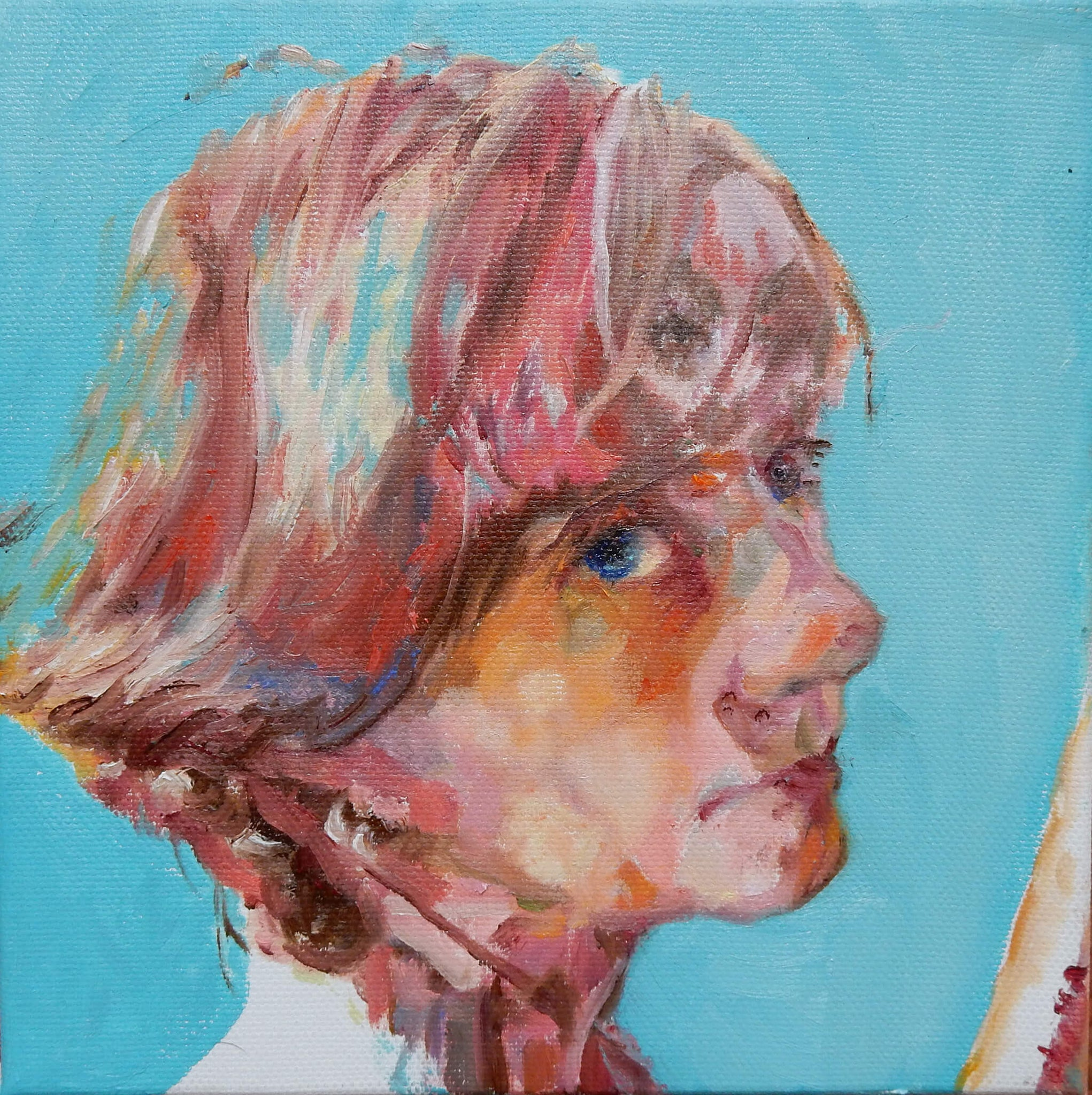 Stella Tooth self-portrait oil on canvas artwork with buskers on her mind.
