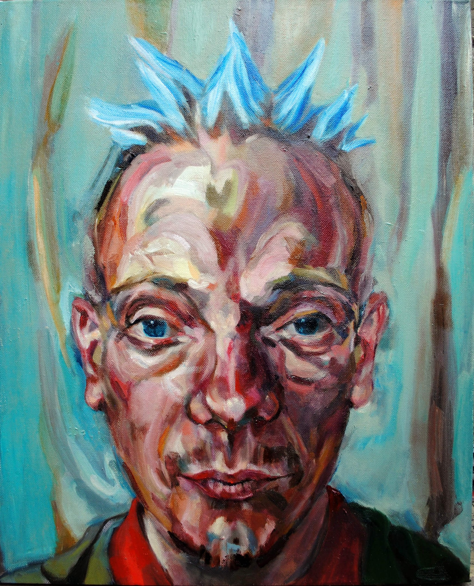Spikey the bed o' nails artist Covent Garden oils on canvas artwork by Stella Tooth.