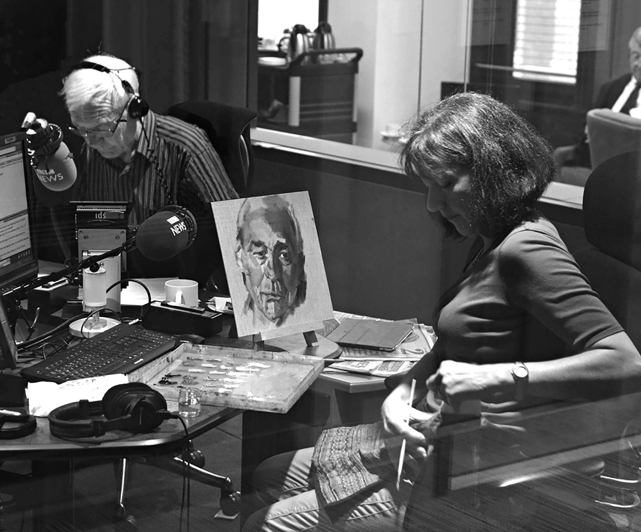 Artist Stella Tooth painting study BBC's John Humphrys in R4 Today studio. Photo: Jeff Overs