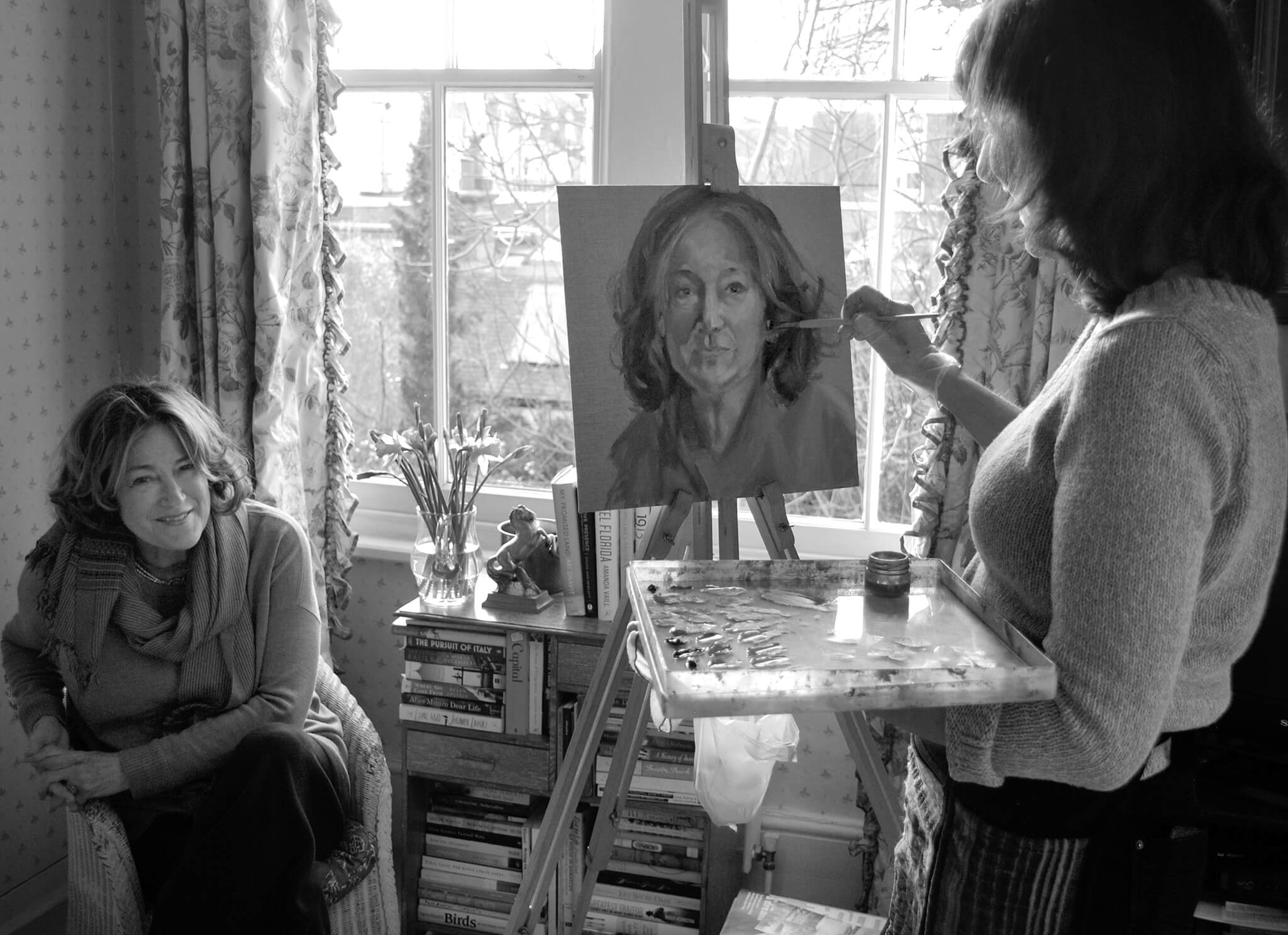 Geraldine Sharpe-Newton sitting for her portrait in oils study at her home by Stella Tooth.