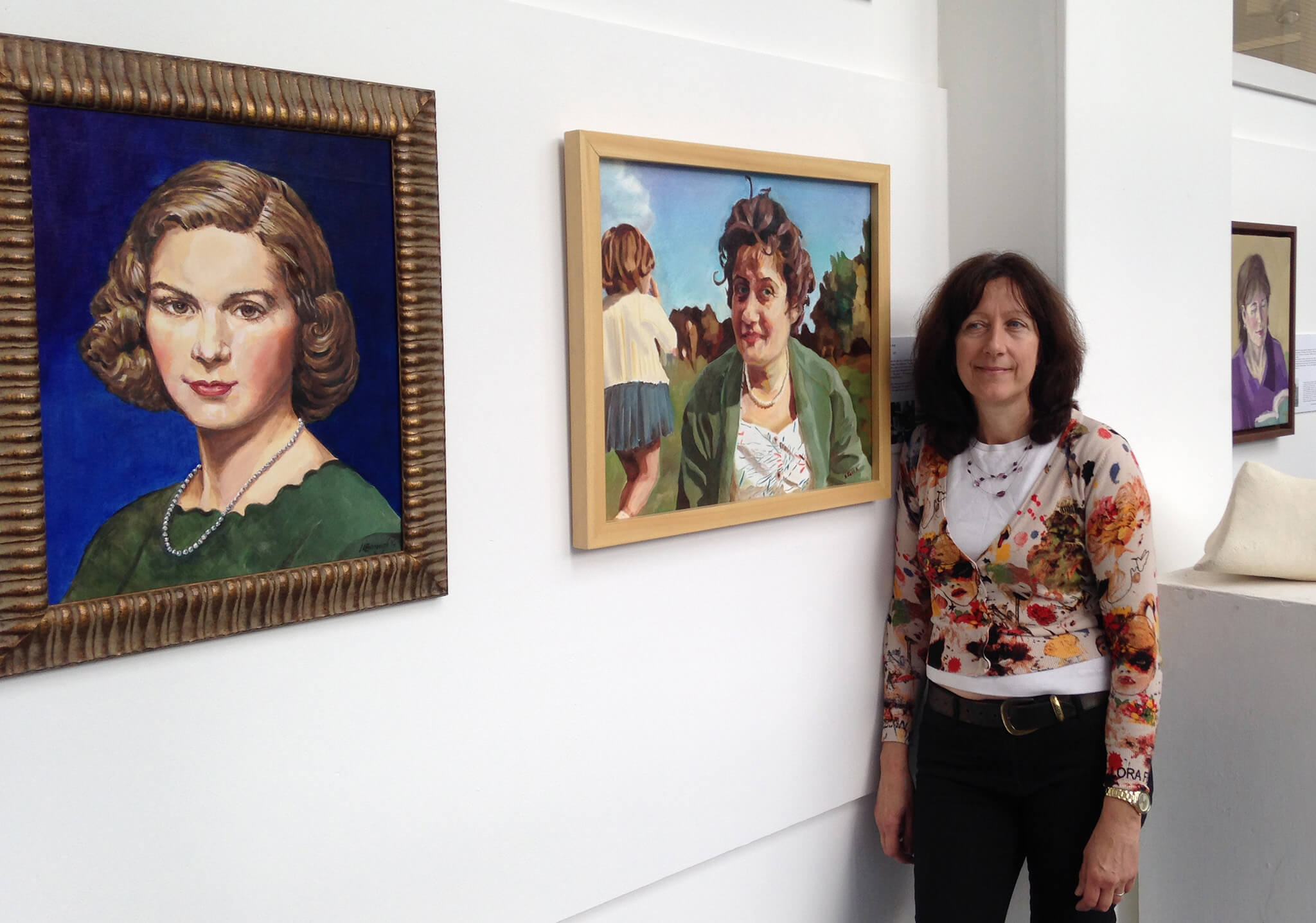 Artist Stella Tooth at Motherhood exhibition Lots Road Group at Heatherleys with her portrait Mum and me.