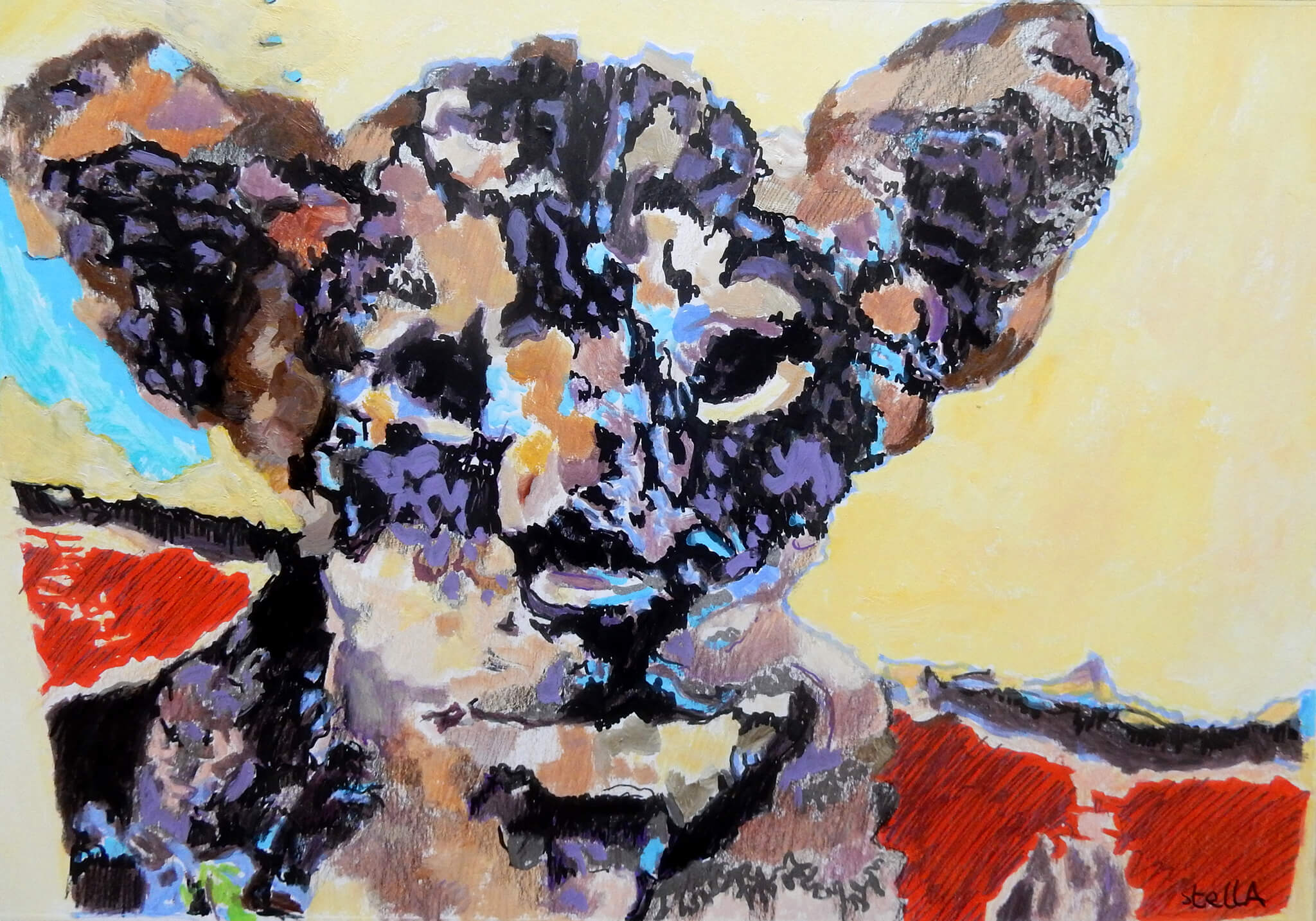 Thai tiger cub acrylic on paper animal portrait artwork by Stella Tooth.