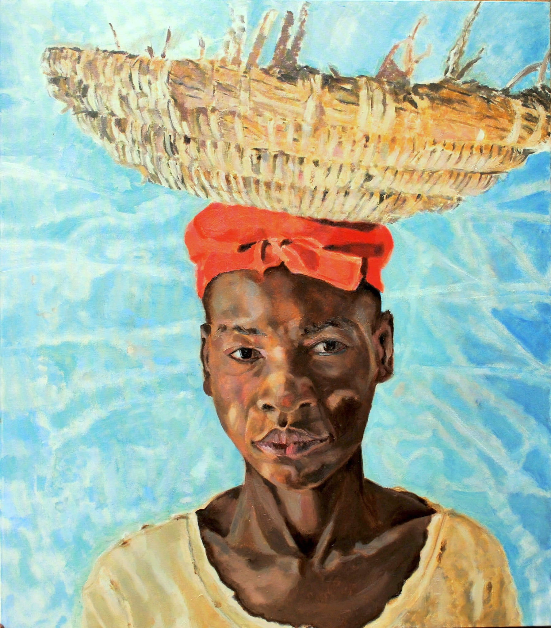 The Hod Carrier from Djenne near Timbuktu oil on canvas by Stella Tooth