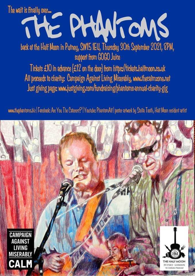 The Phantoms gig poster with original artwork by British figurative artist Stella Tooth