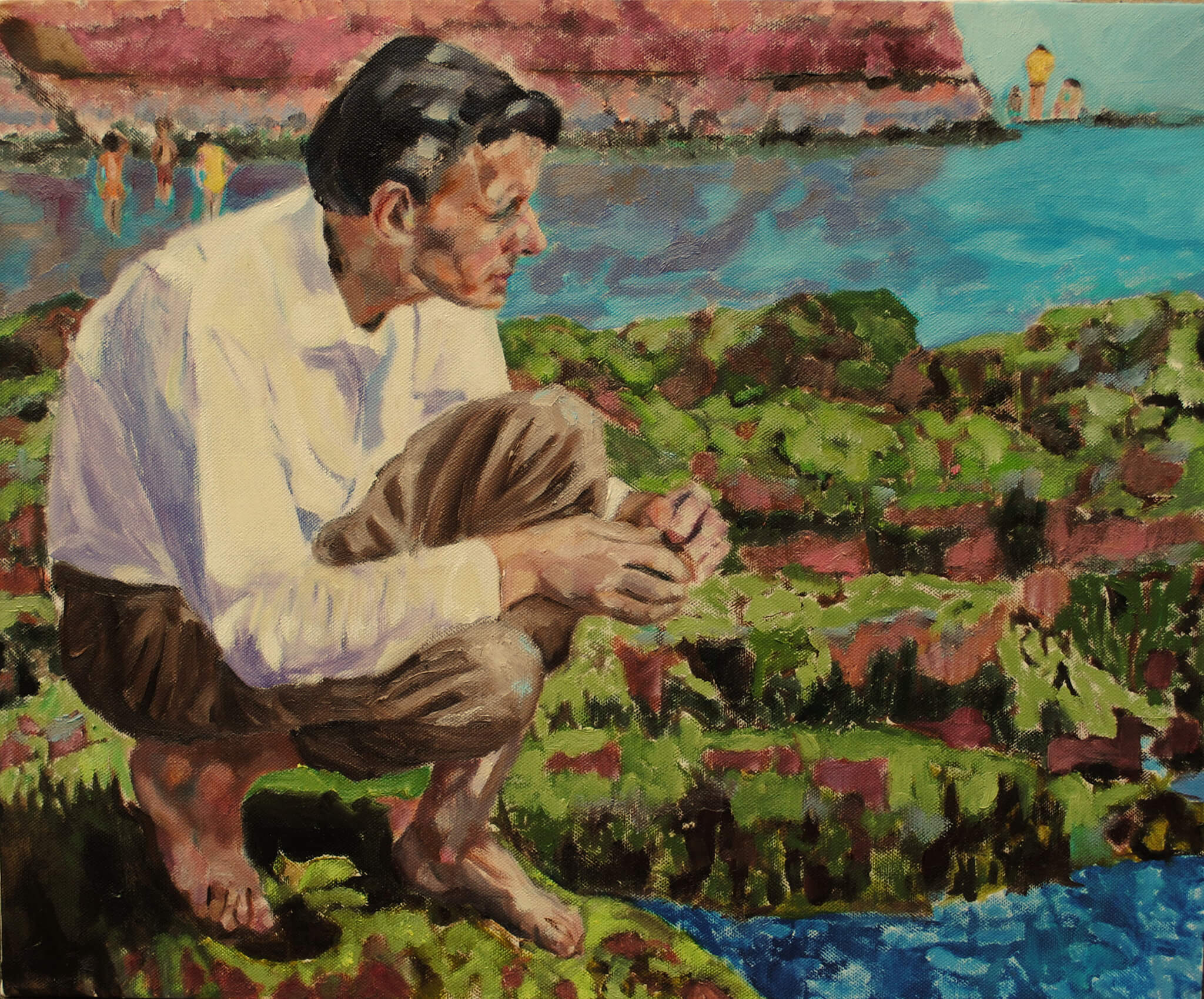 The pebble posthumous portrait oil on canvas artwork of Alex Saunders by Stella Tooth