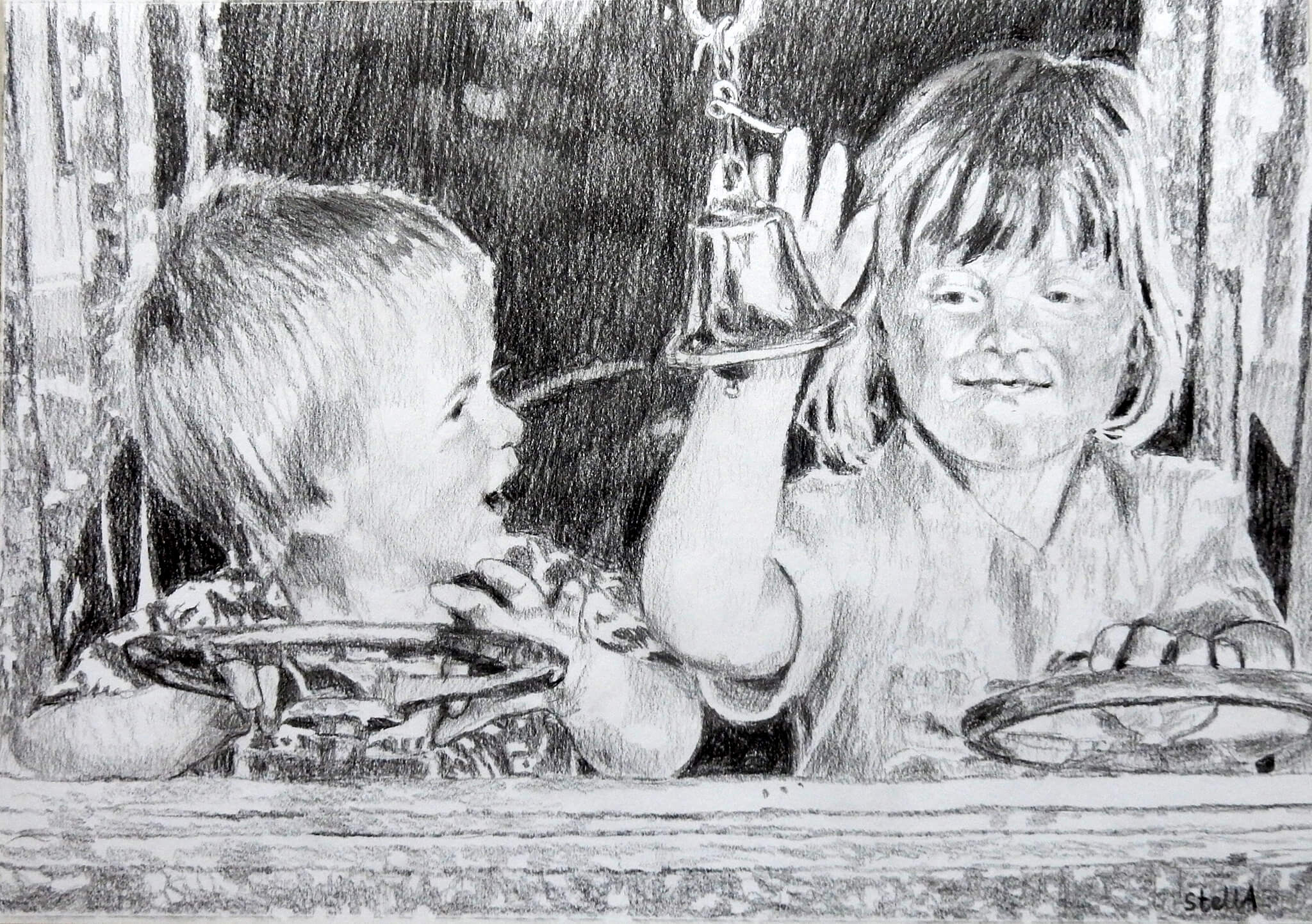Tim Beeson and sister commissioned childhood drawing on paper from photo by Stella Tooth
