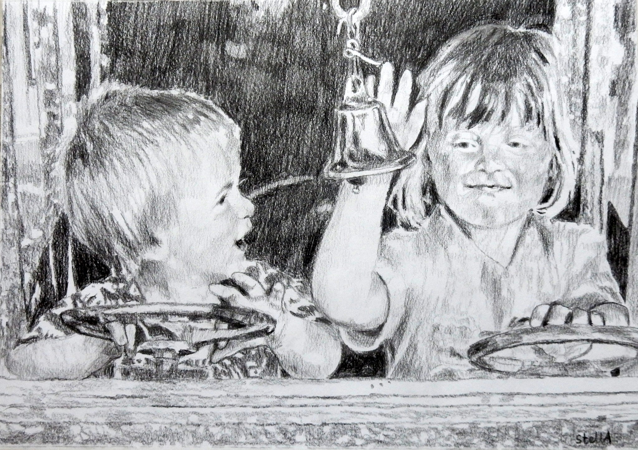 Drawn commission of two siblings by portrait artist Stella Tooth