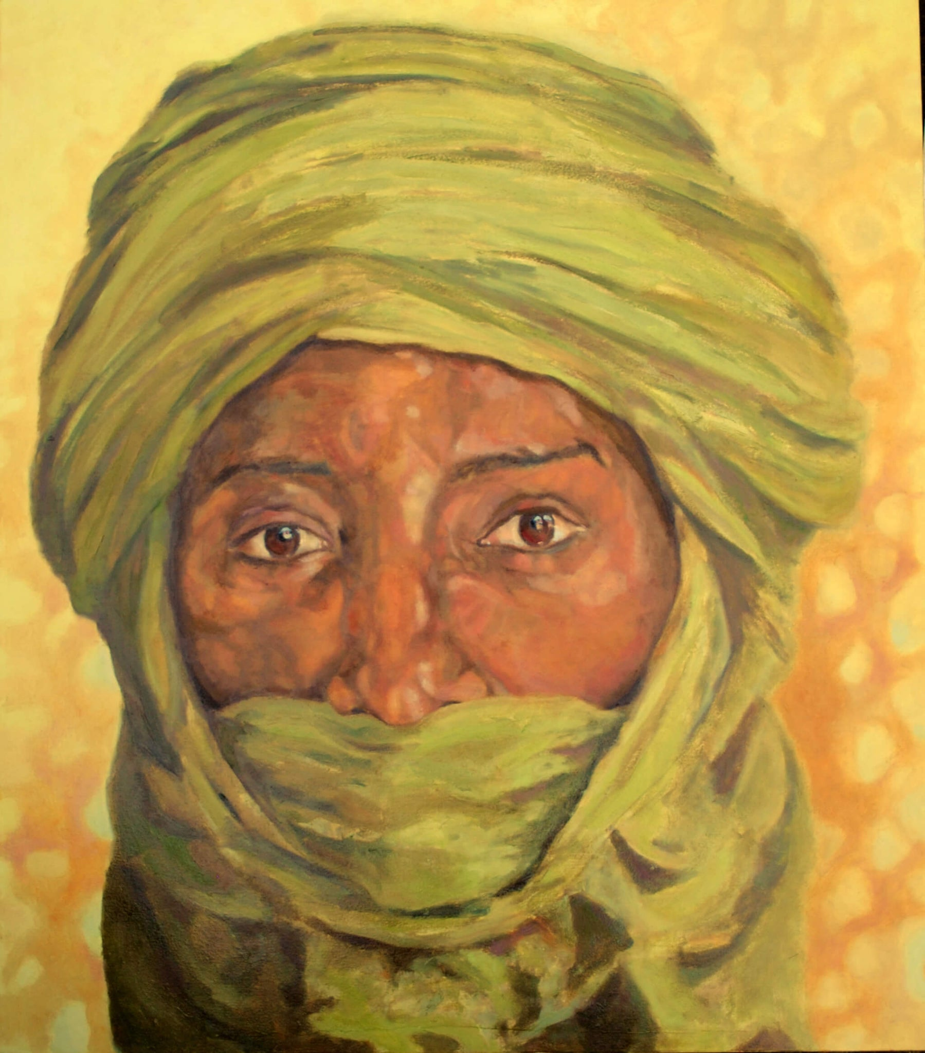 Tuareg from Timbuktu, Sahara portrait in oils on canvas artwork by Stella Tooth.