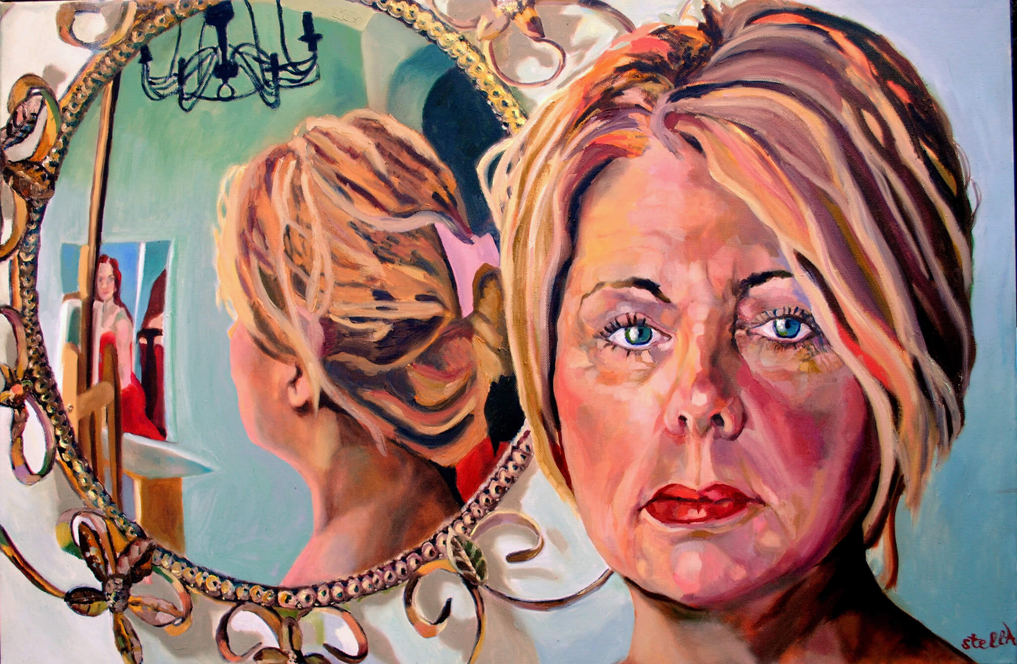 Vanessa Gillies portrait in oils on canvas artwork with mirror by Stella Tooth