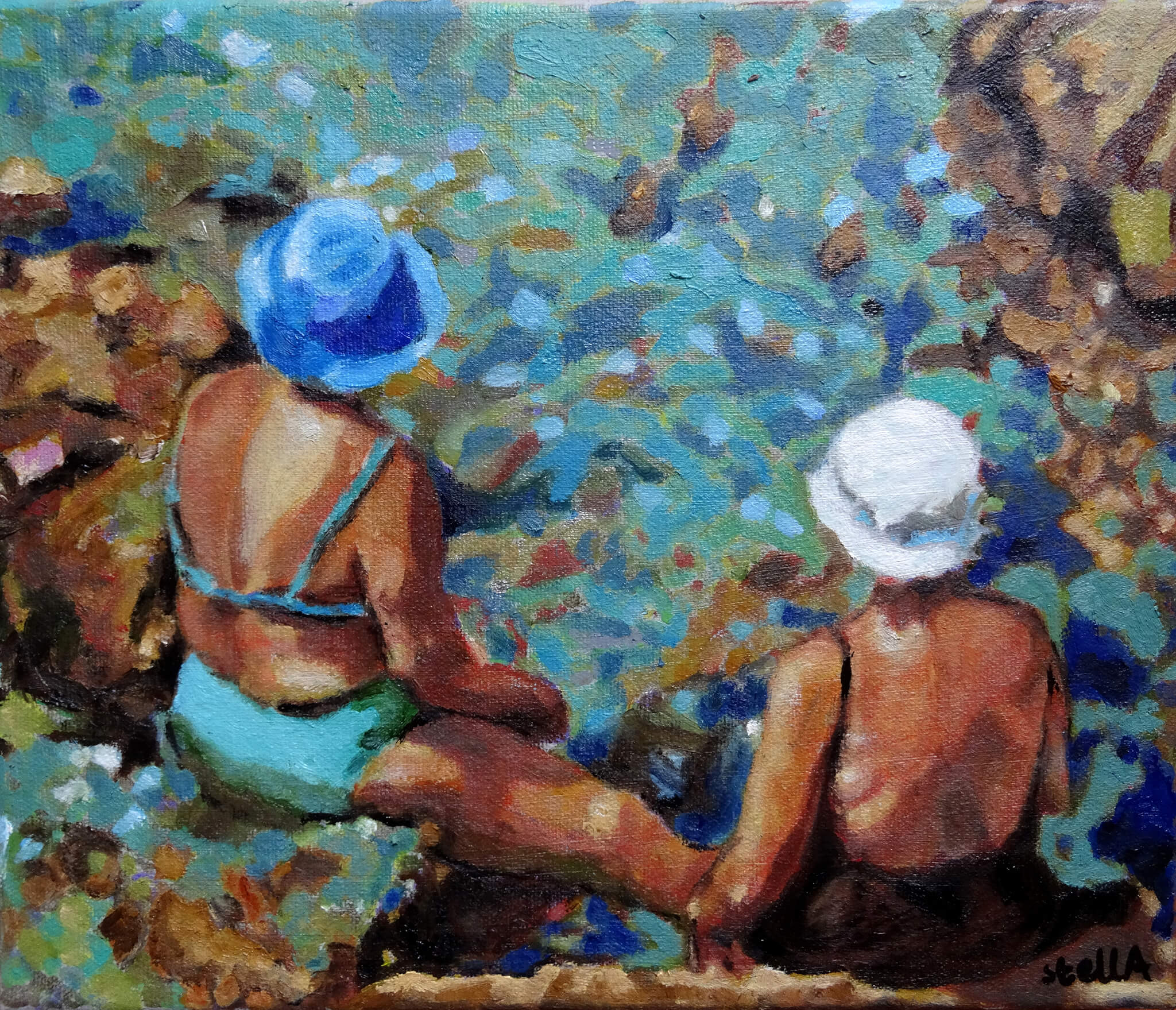 Vecchie amiche oil on canvas artworks in Ischia bather series by Stella Tooth.