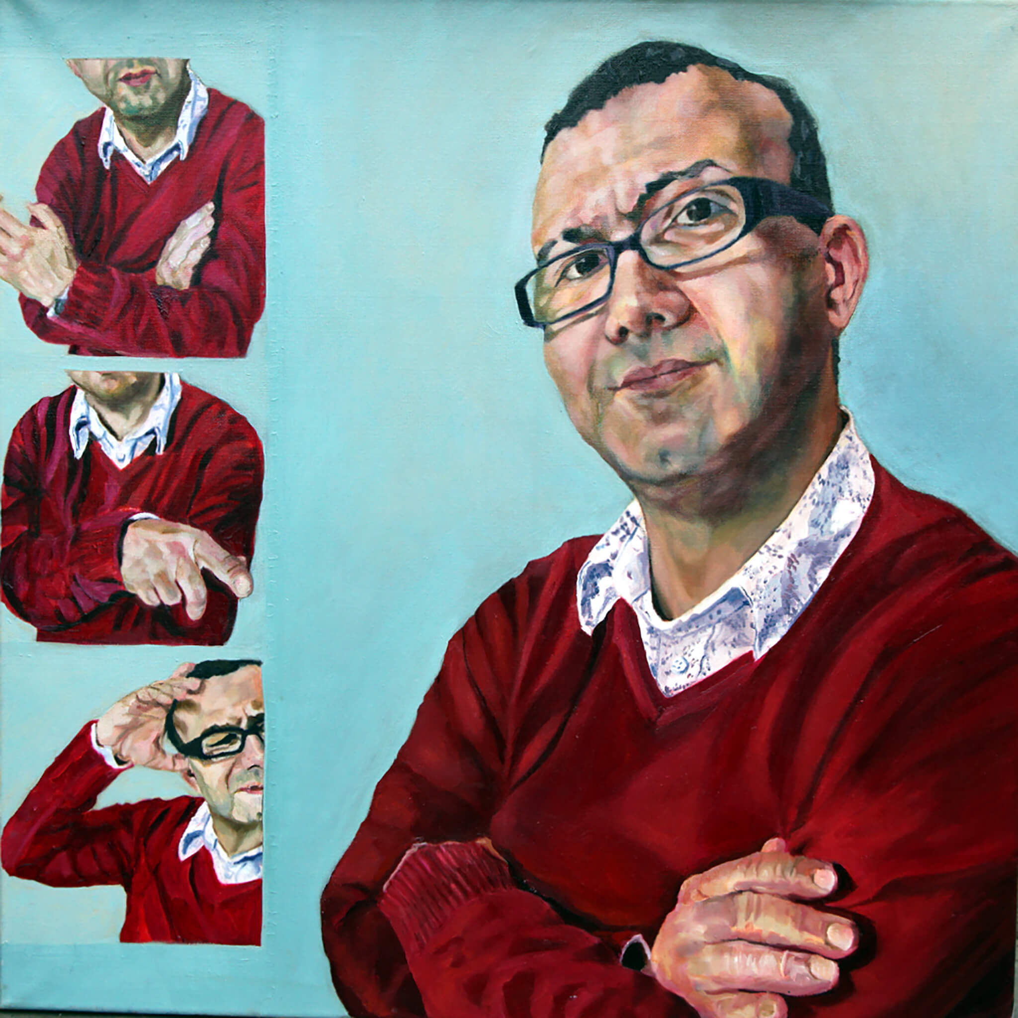 Vince Graff portrait in oils on canvas artwork by Stella Tooth.