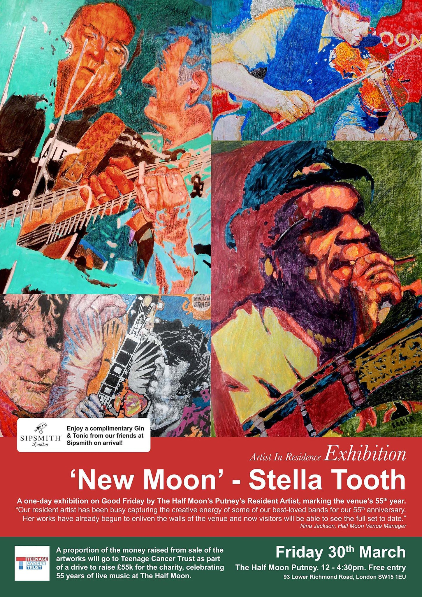 New Moon resident artist Half Moon Putney exhibition flyer.