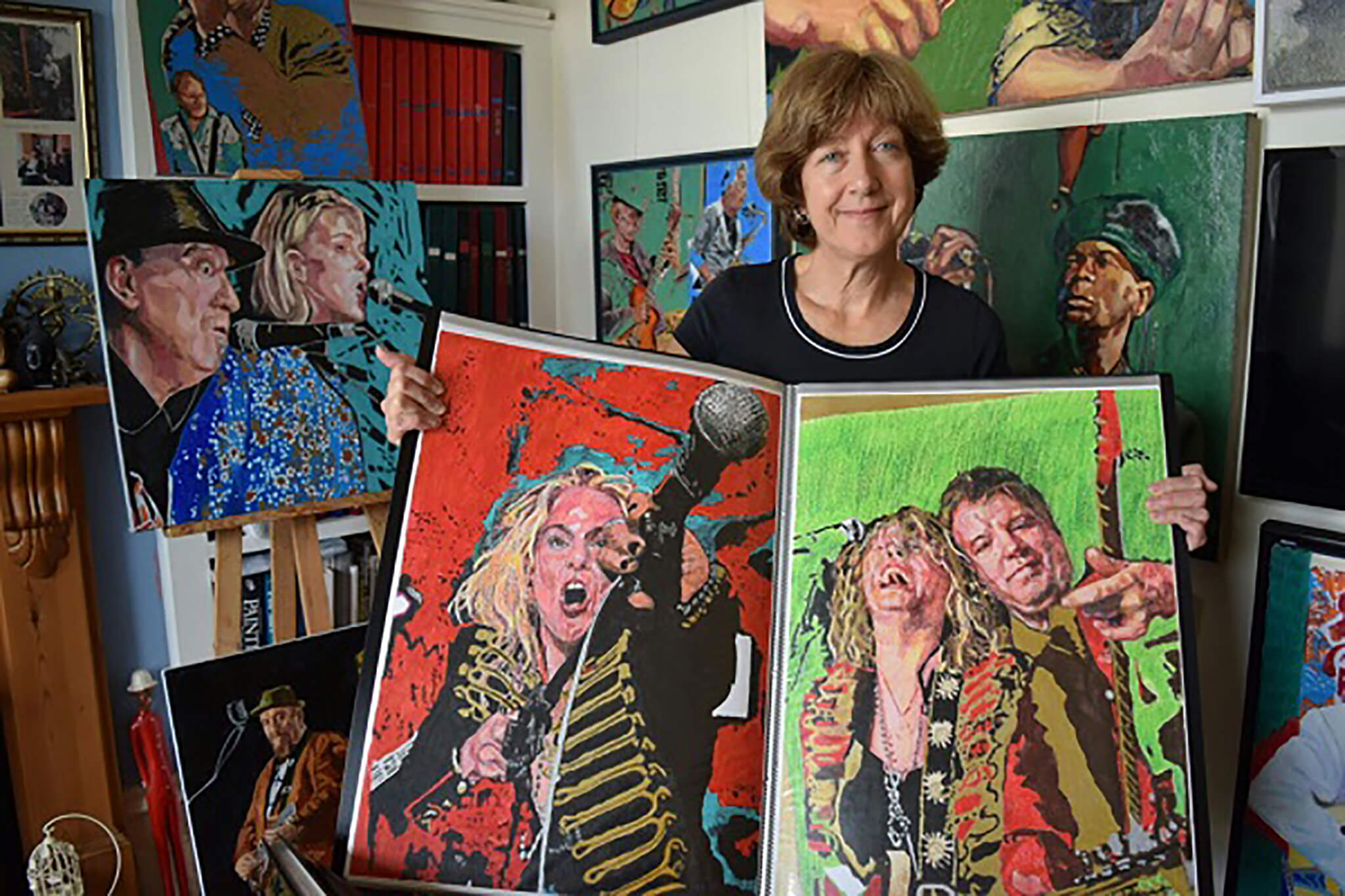 Artist Stella Tooth at BEAT open studios with her portraits. Photo Liz Jenner.