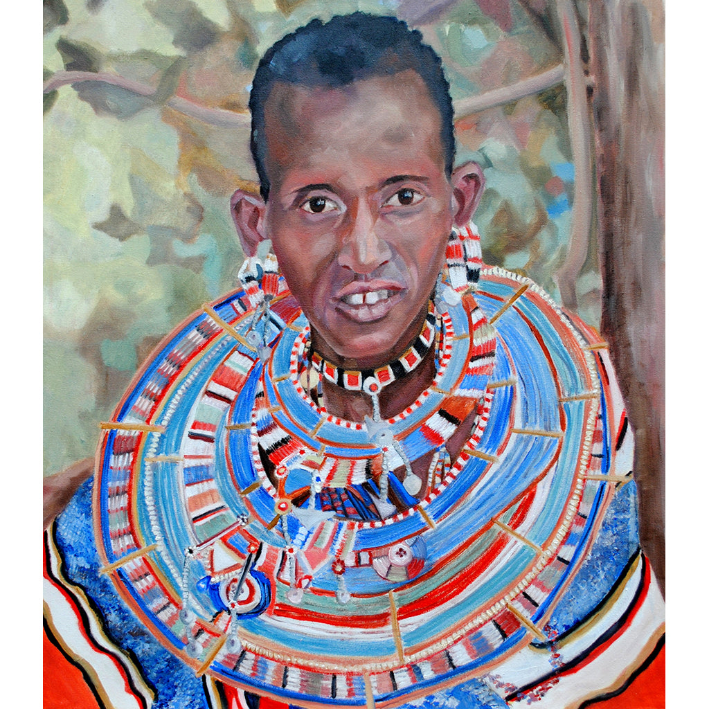 Masaai woman oil on canvas artwork by Stella Tooth