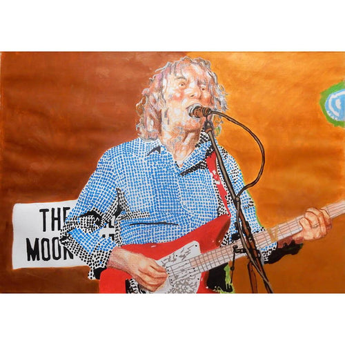 Albert Lee at the Half Moon Putney mixed media on painting artwork by Stella Tooth
