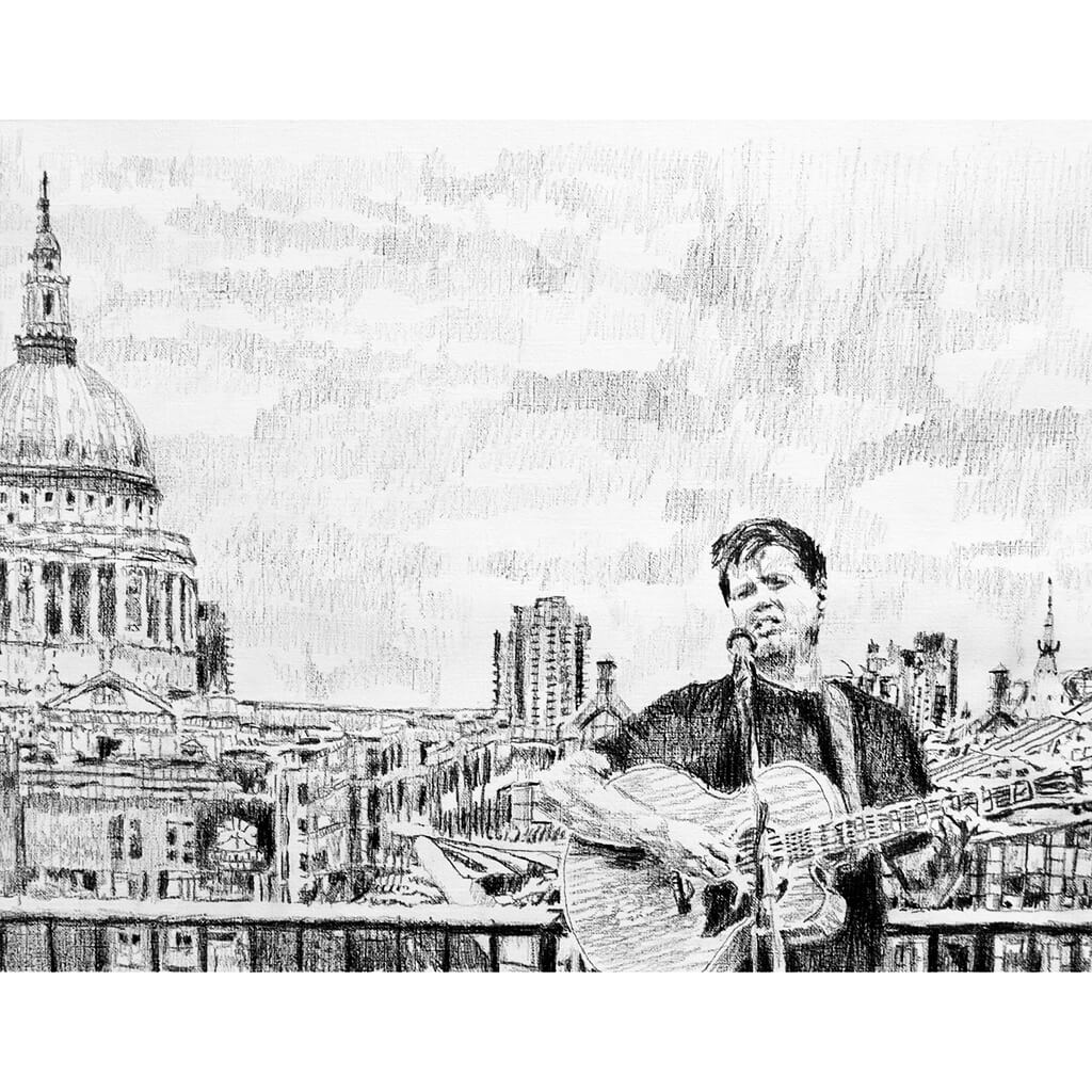 Alex Gibson Southbank busker Mixed media on paper artwork by Stella Tooth Artist