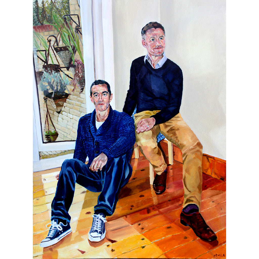 Alexis Mavrikakis and Robert Nisbet commission oil on canvas artwork by Stella Tooth
