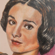 Load image into Gallery viewer, Audrey Hepburn Pastel Artwork by Stella Tooth Detail