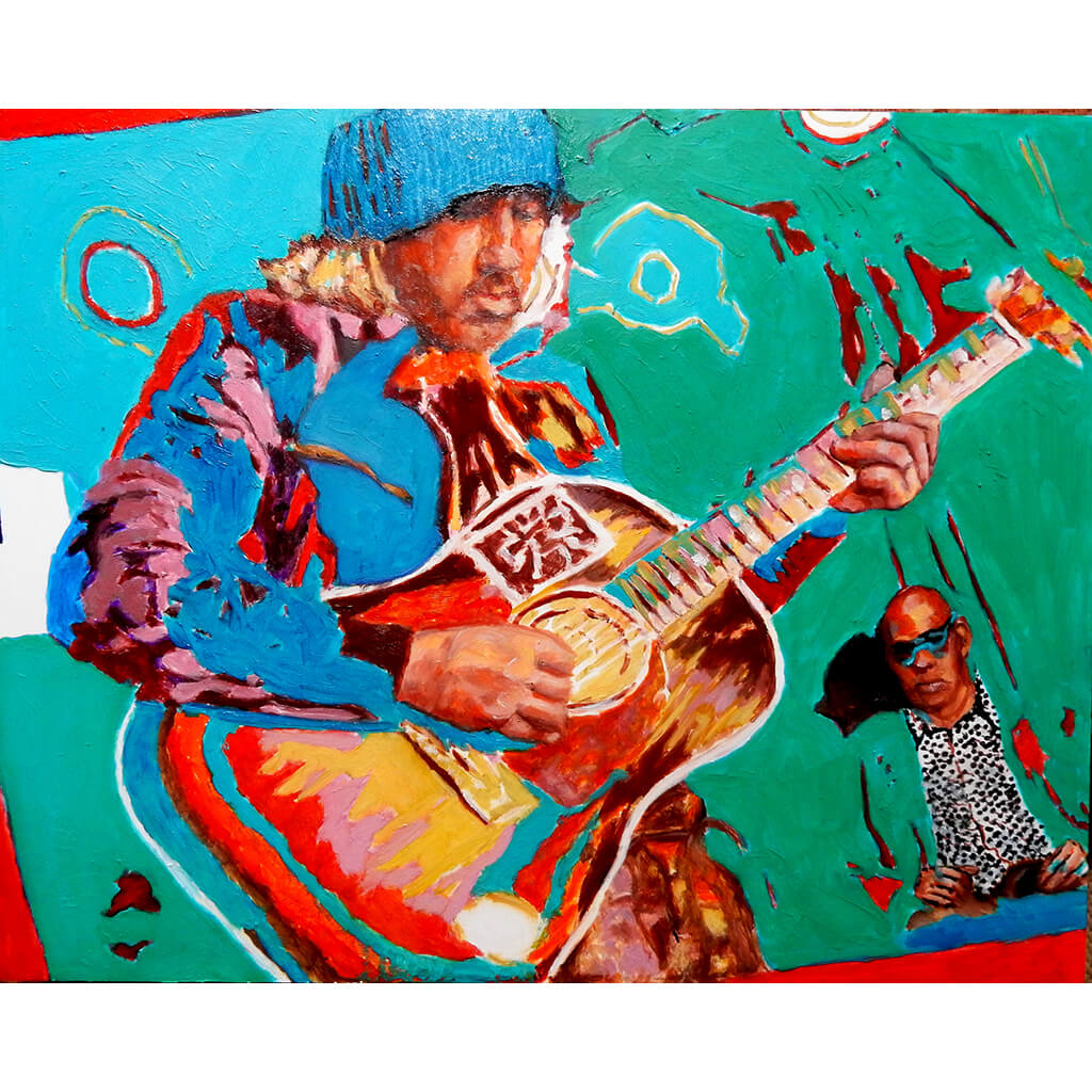 Badly Drawn Boy and Guy Davis pencil on cradled gesso panel  by Stella Tooth