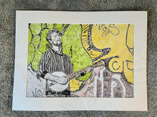 Load image into Gallery viewer, Banjo Player Jimmy Grayburn Pencil on Paper Artwork by Stella Tooth Artist