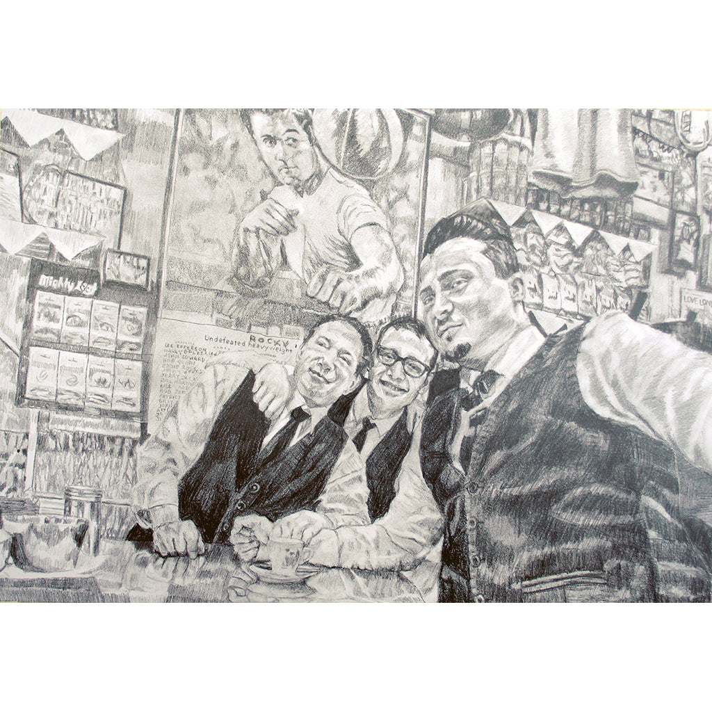 Bar Italia customers pencil on paper drawn artwork by Stella Tooth