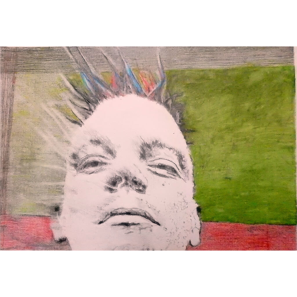 Spikey the bed o' nails artist mixed media drawing on paper by Stella Tooth